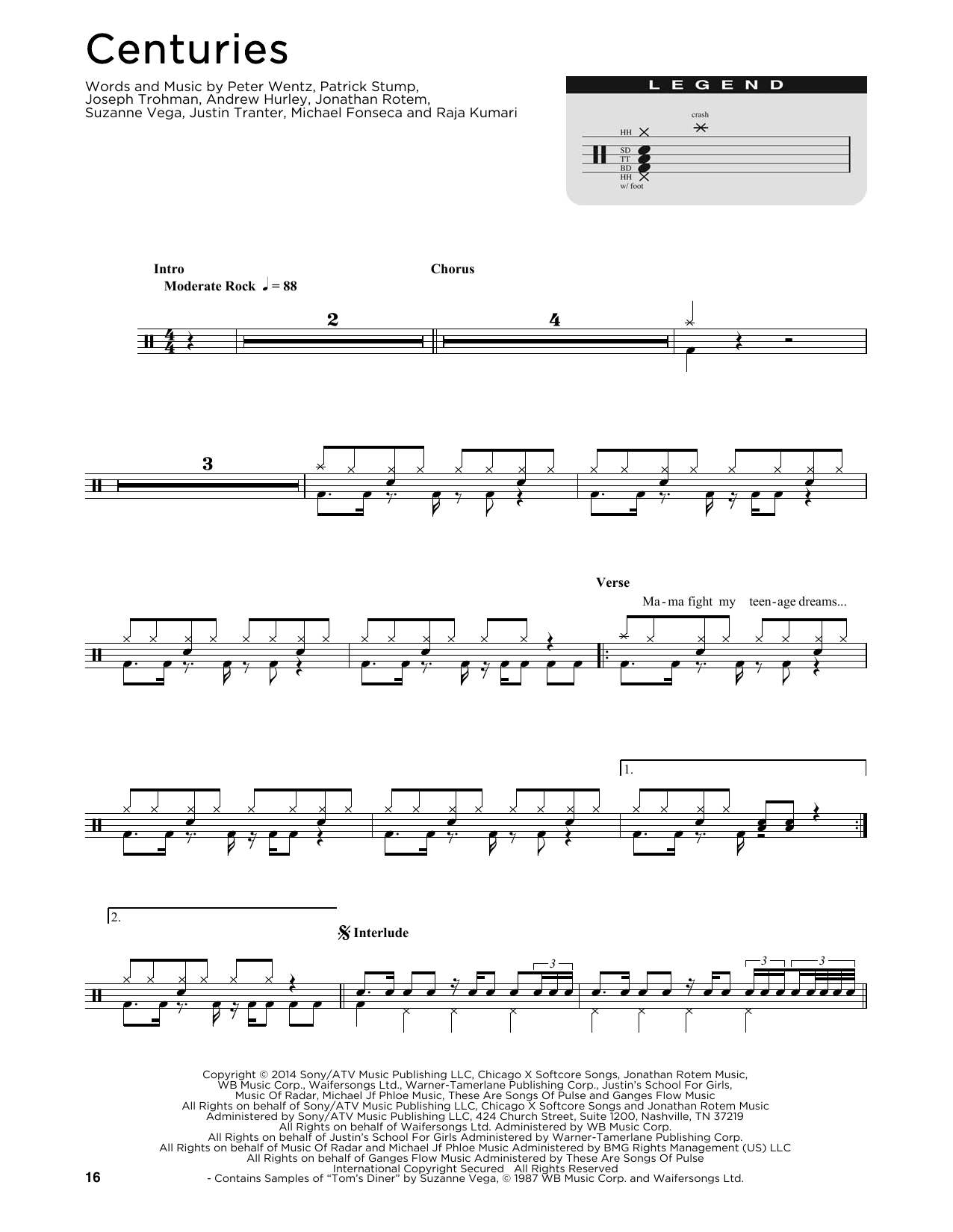 Fall Out Boy Centuries Sheet Music Notes Chords Printable Rock