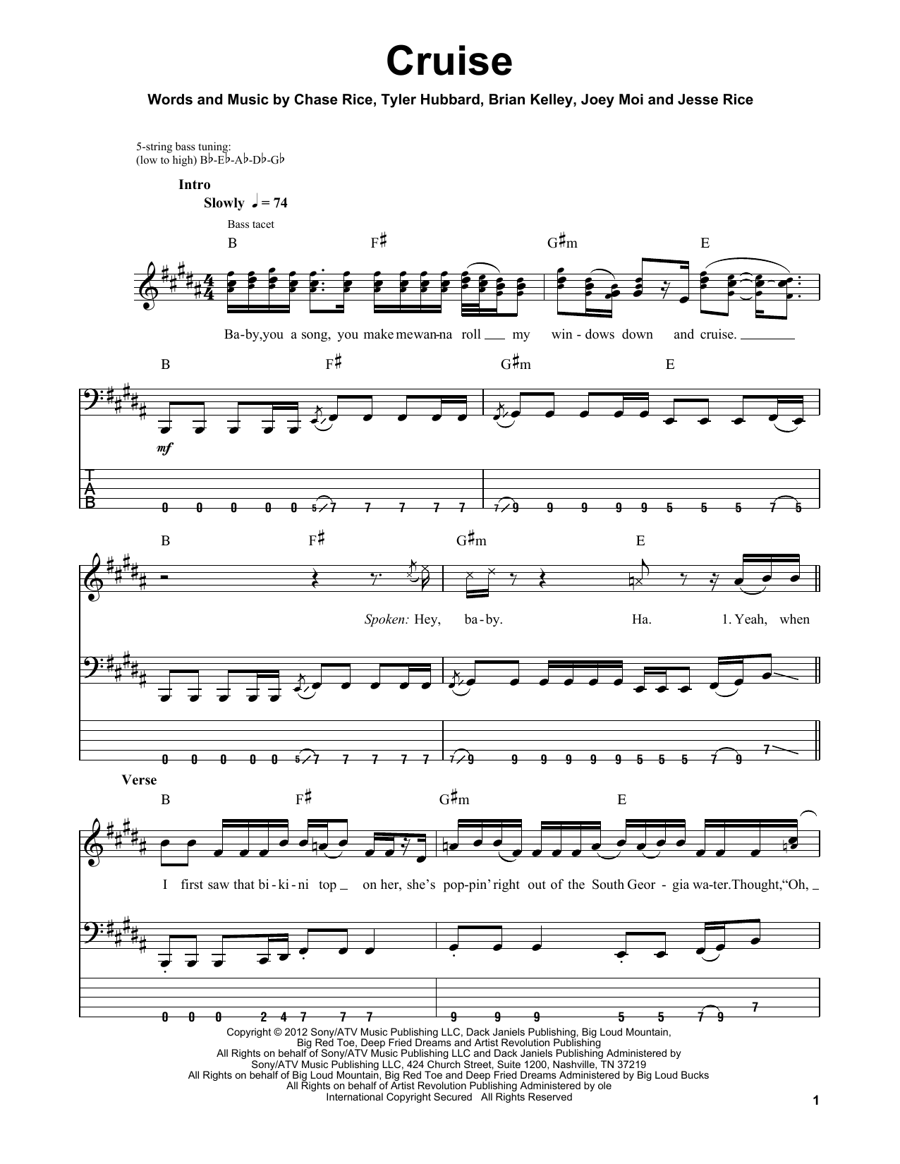 Florida Georgia Line Cruise Sheet Music Notes Chords Printable