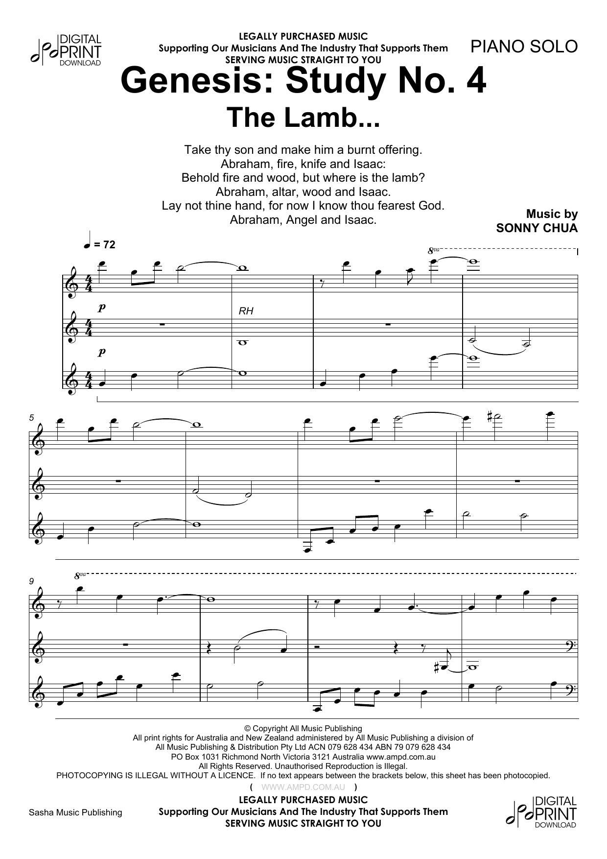 Sonny Chua 'Genesis Study No 4 The Lamb' Sheet Music Notes, Chords    Download Printable Piano - SKU: 185830