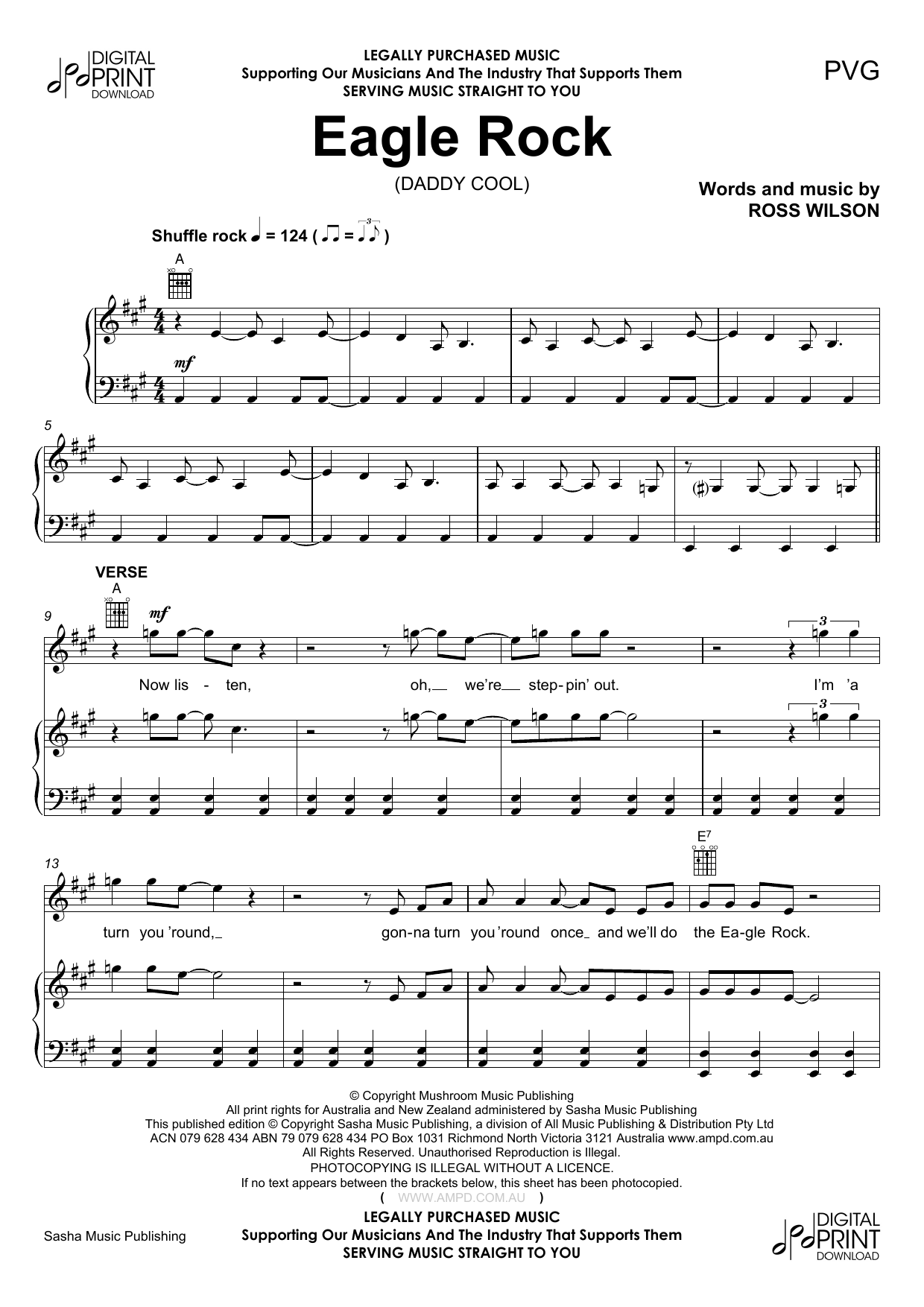 Daddy Cool Eagle Rock Sheet Music Notes Chords Printable Rock