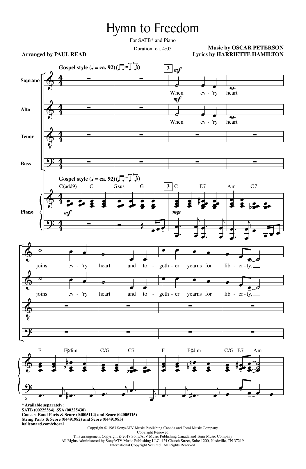 Seppo Hovi Hymn To Freedom Sheet Music Notes Chords Printable