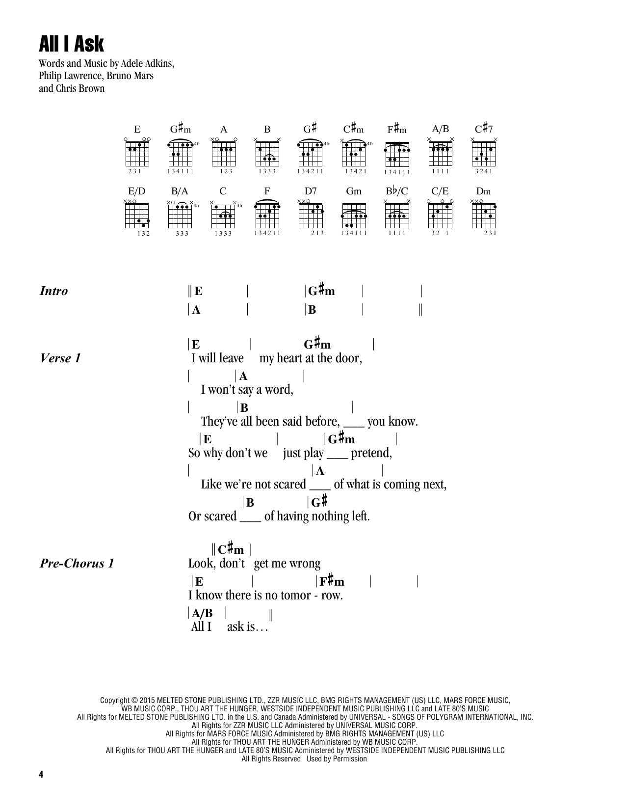 Adele All I Ask Sheet Music Notes Chords Printable Pop Lyrics
