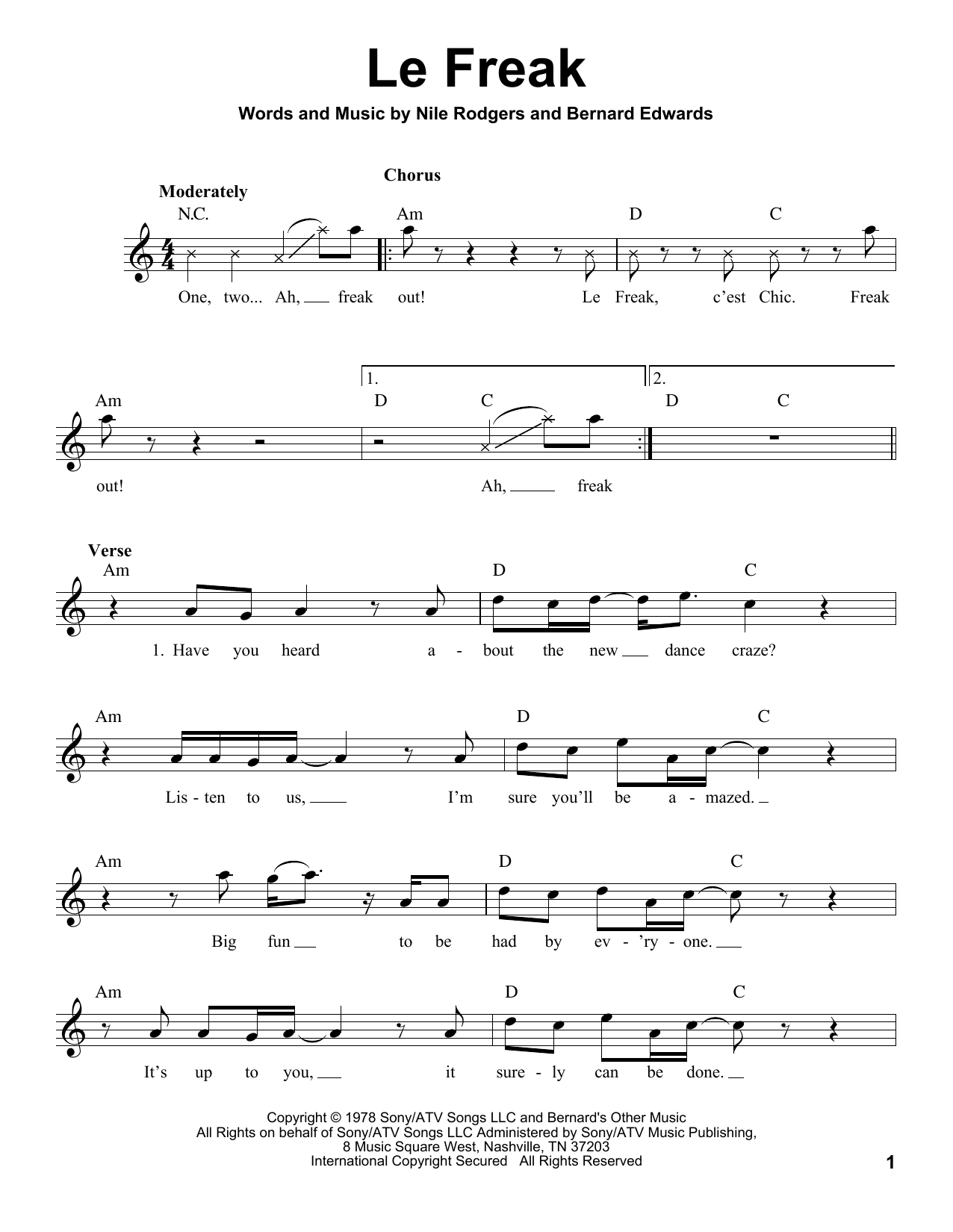 Chic Le Freak Sheet Music Notes Chords Printable Pop Voice