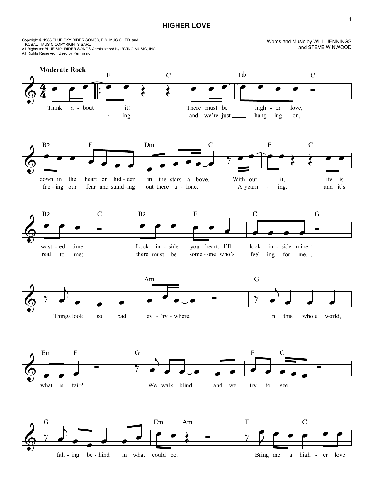 Steve Winwood Higher Love Sheet Music Notes Chords Printable