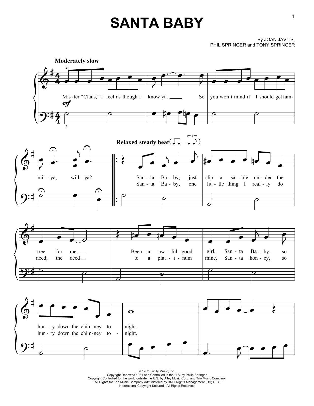 Joan Javits Santa Baby Sheet Music Notes Chords Printable