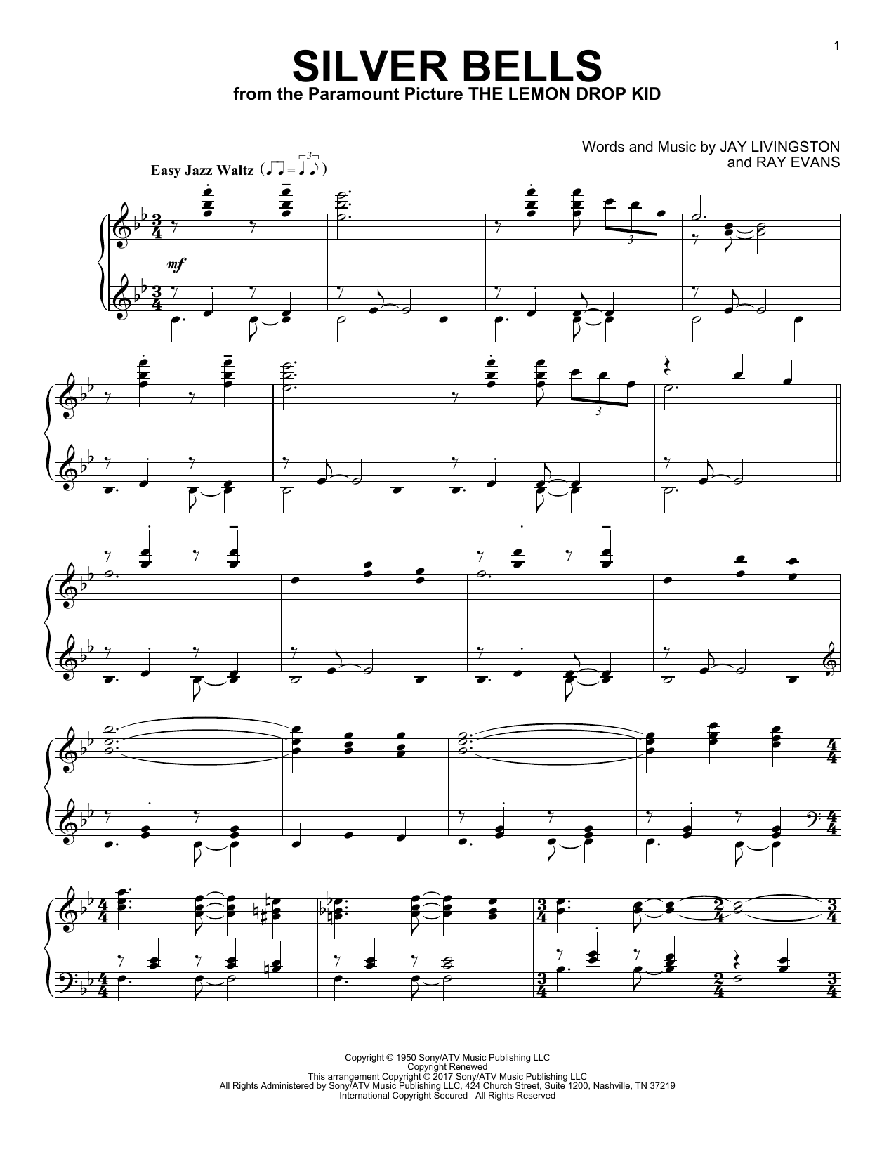 Jay Livingston Silver Bells Sheet Music Notes Chords Printable