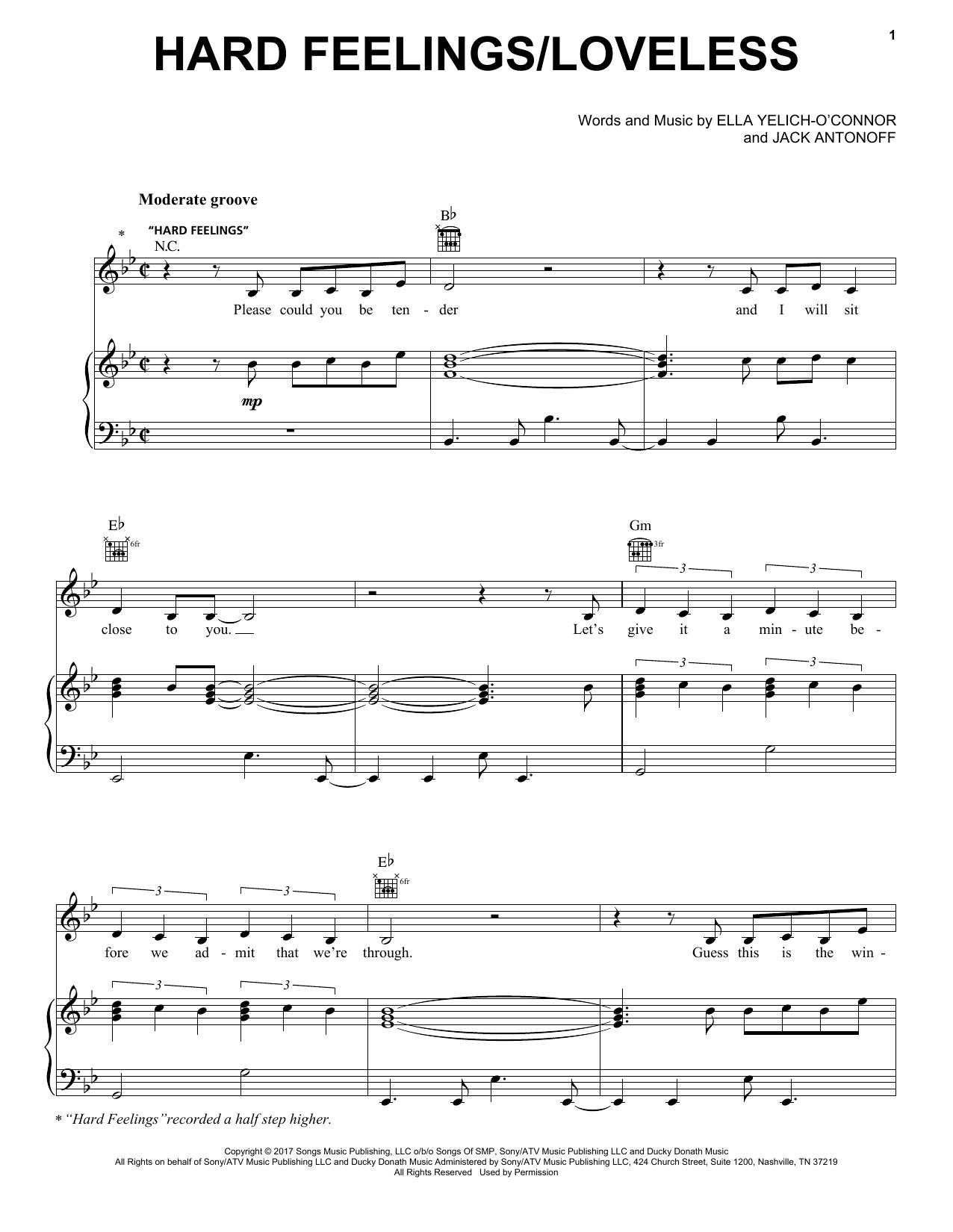 Lorde Hard Feelingsloveless Sheet Music Notes Chords Printable