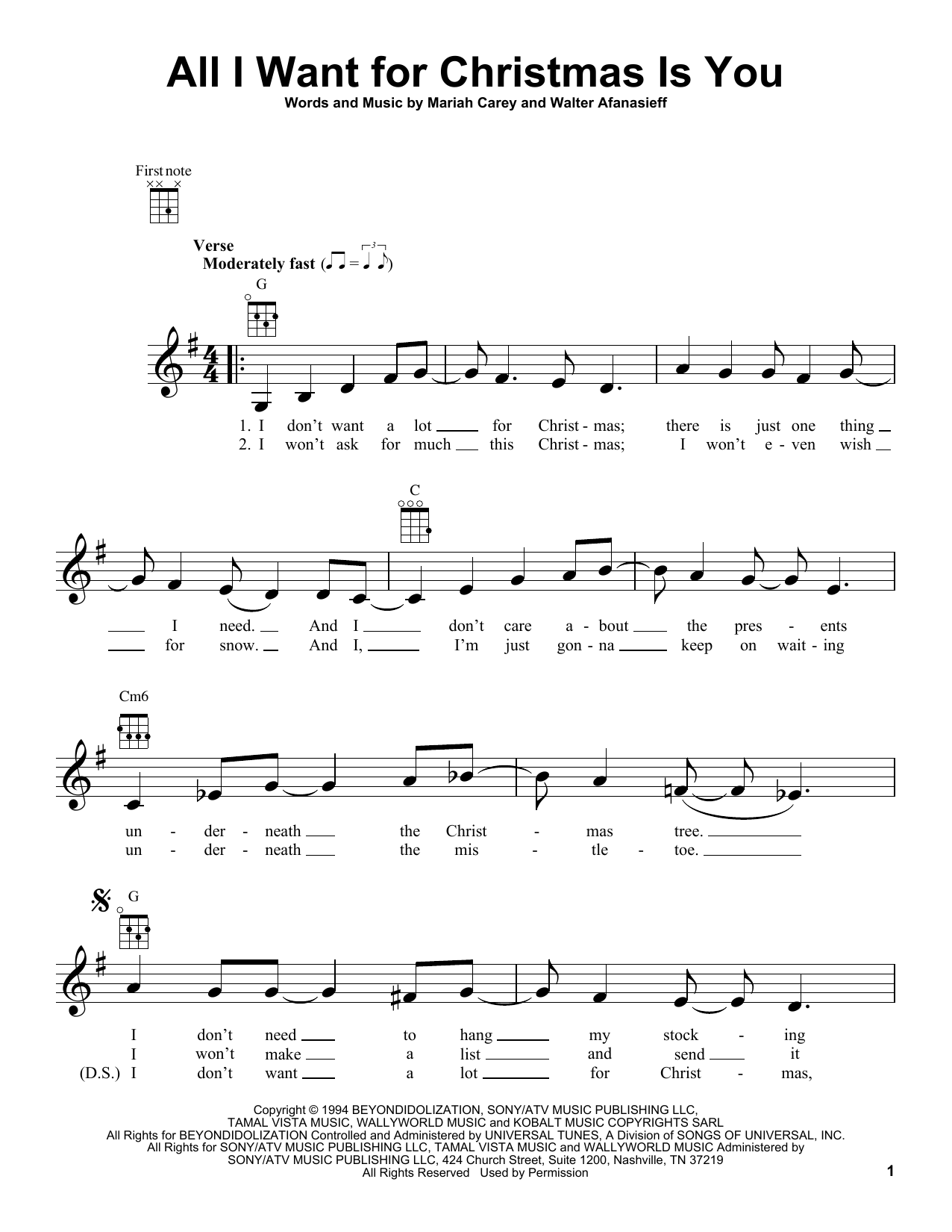 Mariah Carey 'All I Want For Christmas Is You' Sheet Music Notes, Chords |  Download Printable Ukulele - SKU: 187099