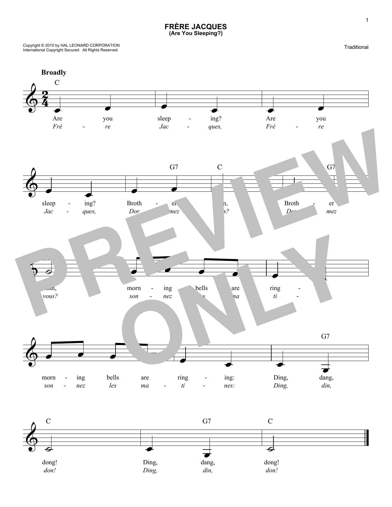 Traditional Frere Jacques Are You Sleeping Sheet Music Notes