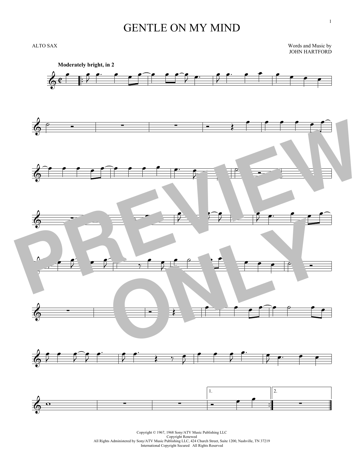 Glen Campbell Gentle On My Mind Sheet Music Notes Chords