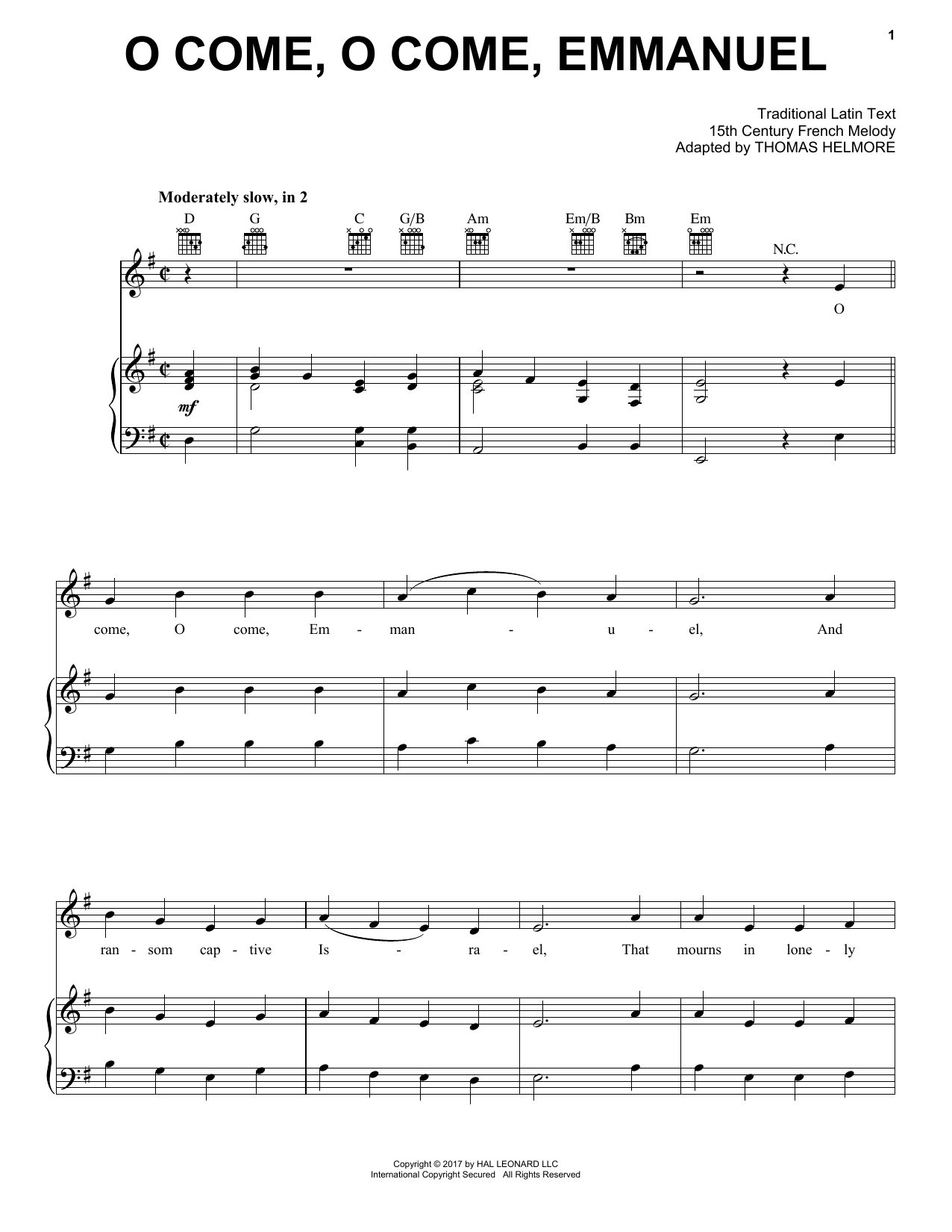 Traditional Latin Text O Come O Come Emmanuel Sheet Music Notes