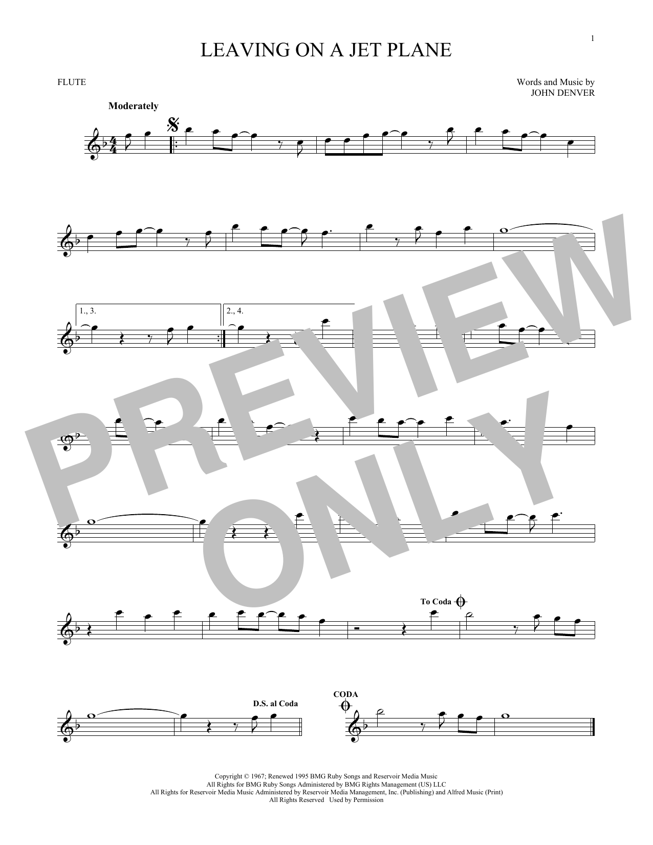 John Denver Leaving On A Jet Plane Sheet Music Notes Chords