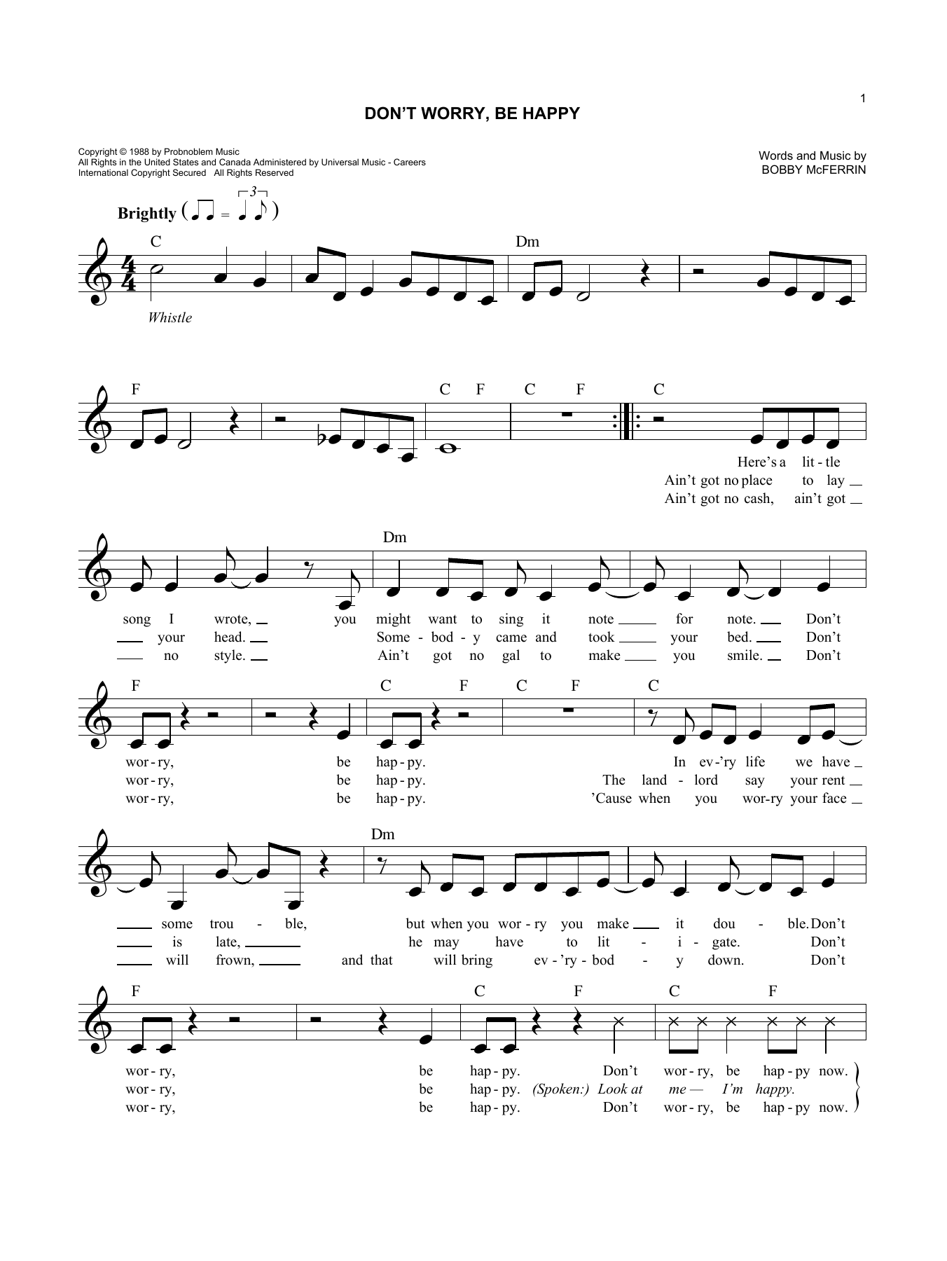 Bobby Mcferrin Dont Worry Be Happy Sheet Music Notes Chords