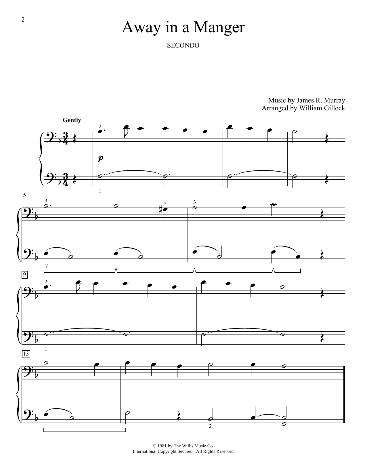 William Gillock Away In A Manger Sheet Music Notes Chords