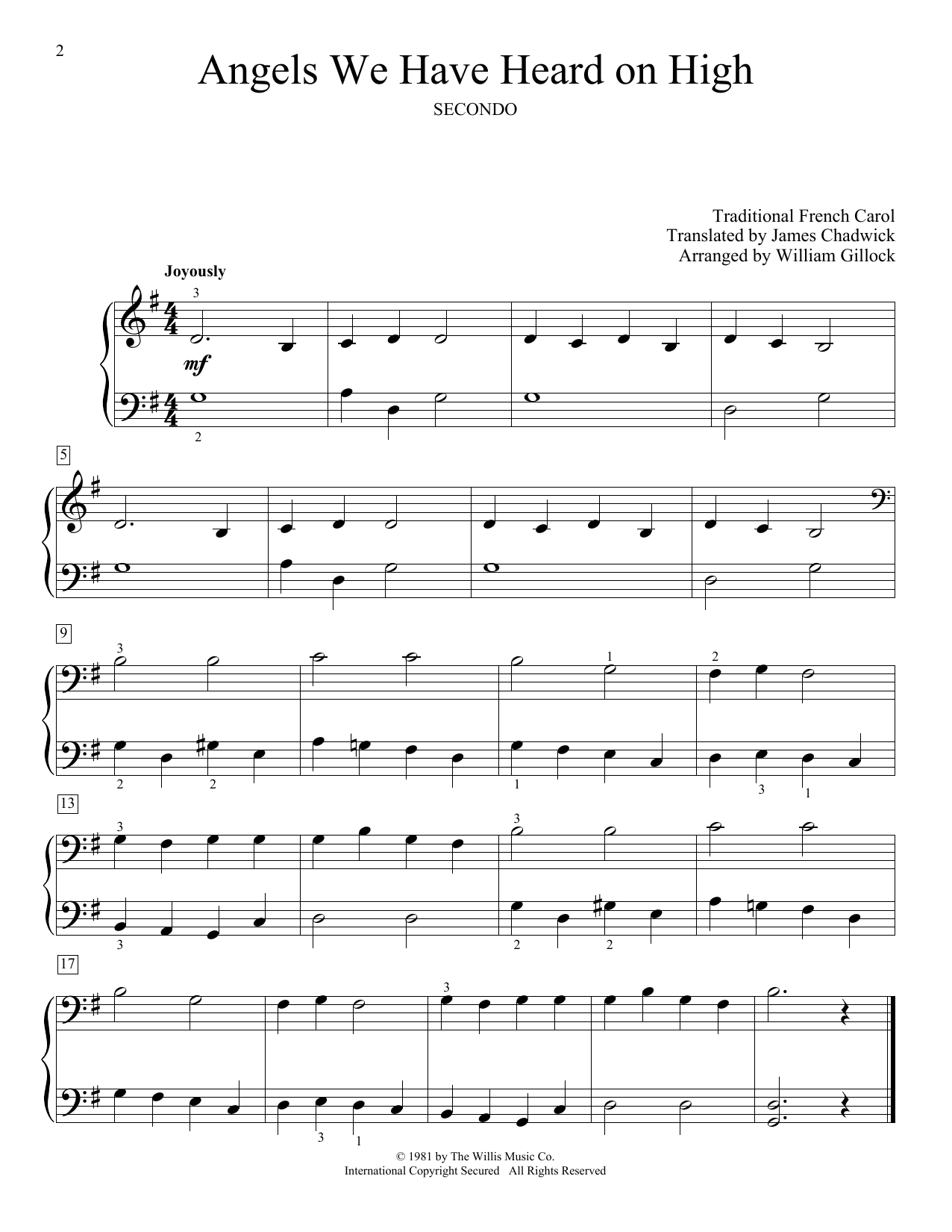 William Gillock Angels We Have Heard On High Sheet Music Notes