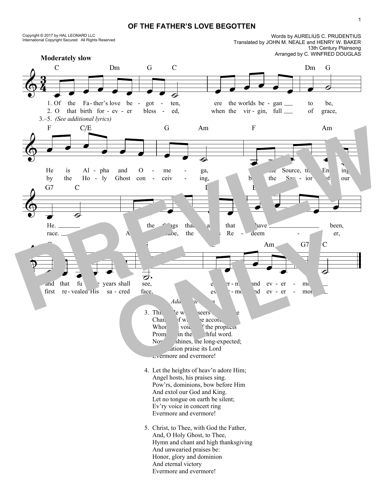 13th Century Plainsong Of The Fathers Love Begotten Sheet Music
