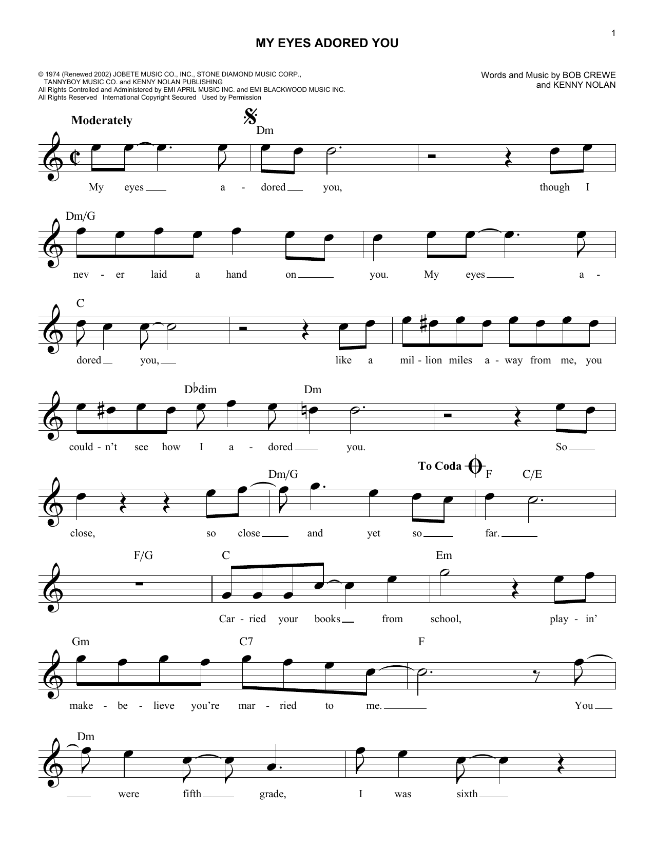 Frankie Valli My Eyes Adored You Sheet Music Notes Chords