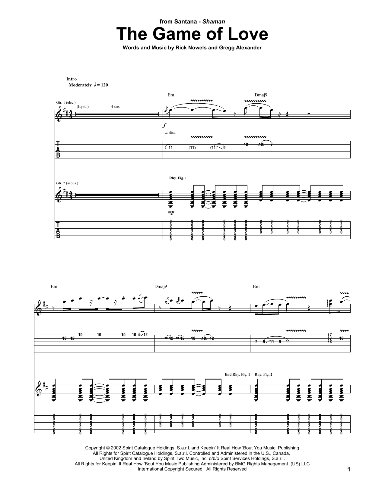 Santana The Game Of Love Feat Michelle Branch Sheet Music Notes