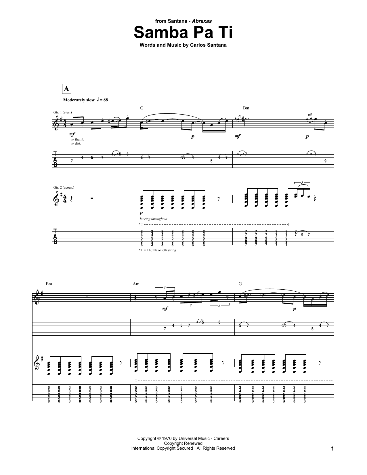 Santana Samba Pa Ti Sheet Music Notes Chords Printable Pop