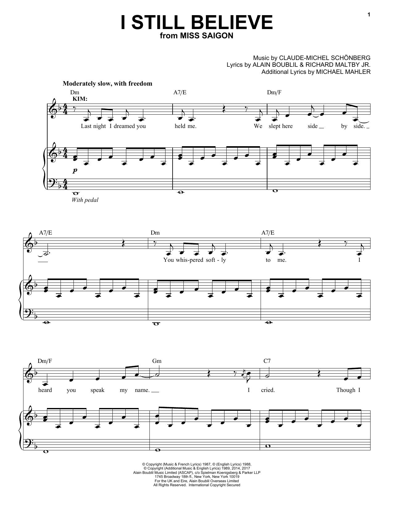 Claude Michel Schnberg I Still Believe Sheet Music Notes Chords