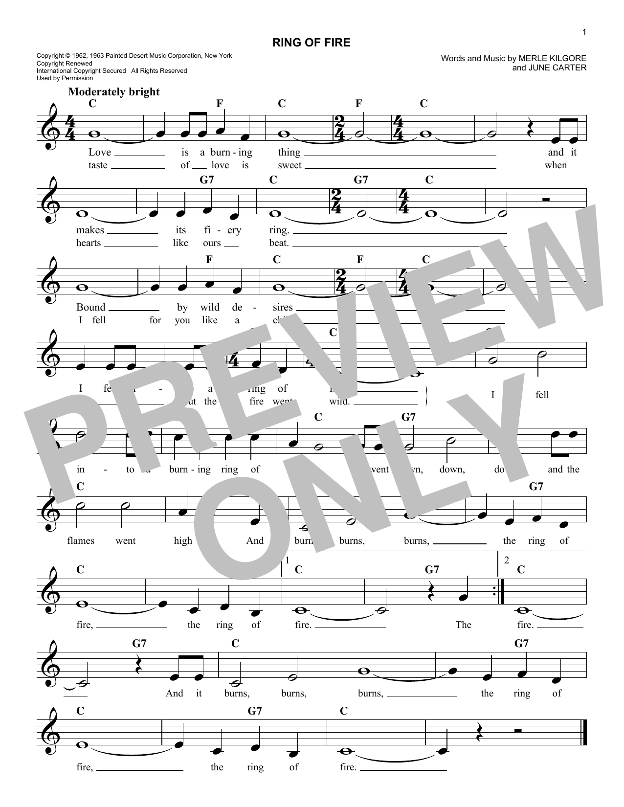 Johnny Cash Ring Of Fire Sheet Music Notes Chords Printable