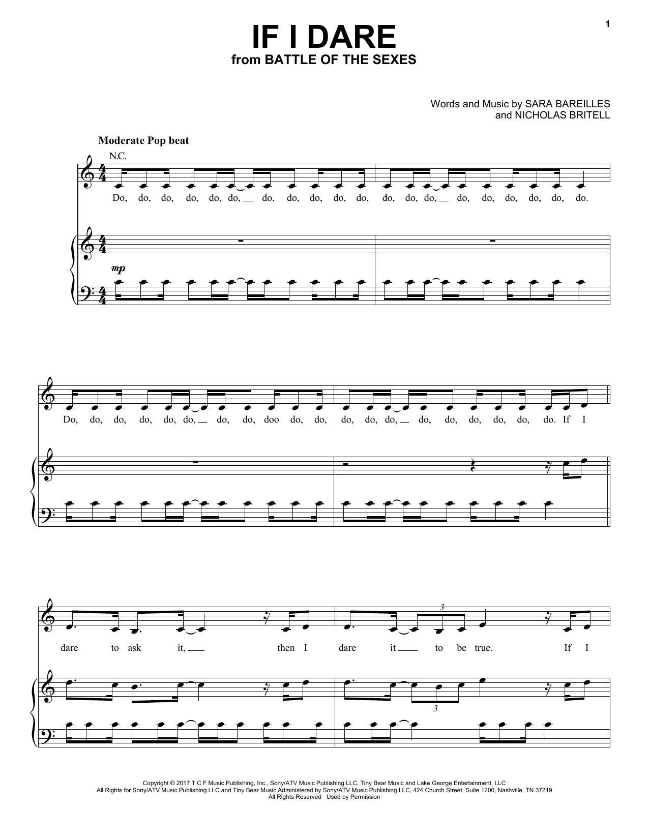 Sara Bareilles If I Dare Sheet Music Notes Chords Printable Pop