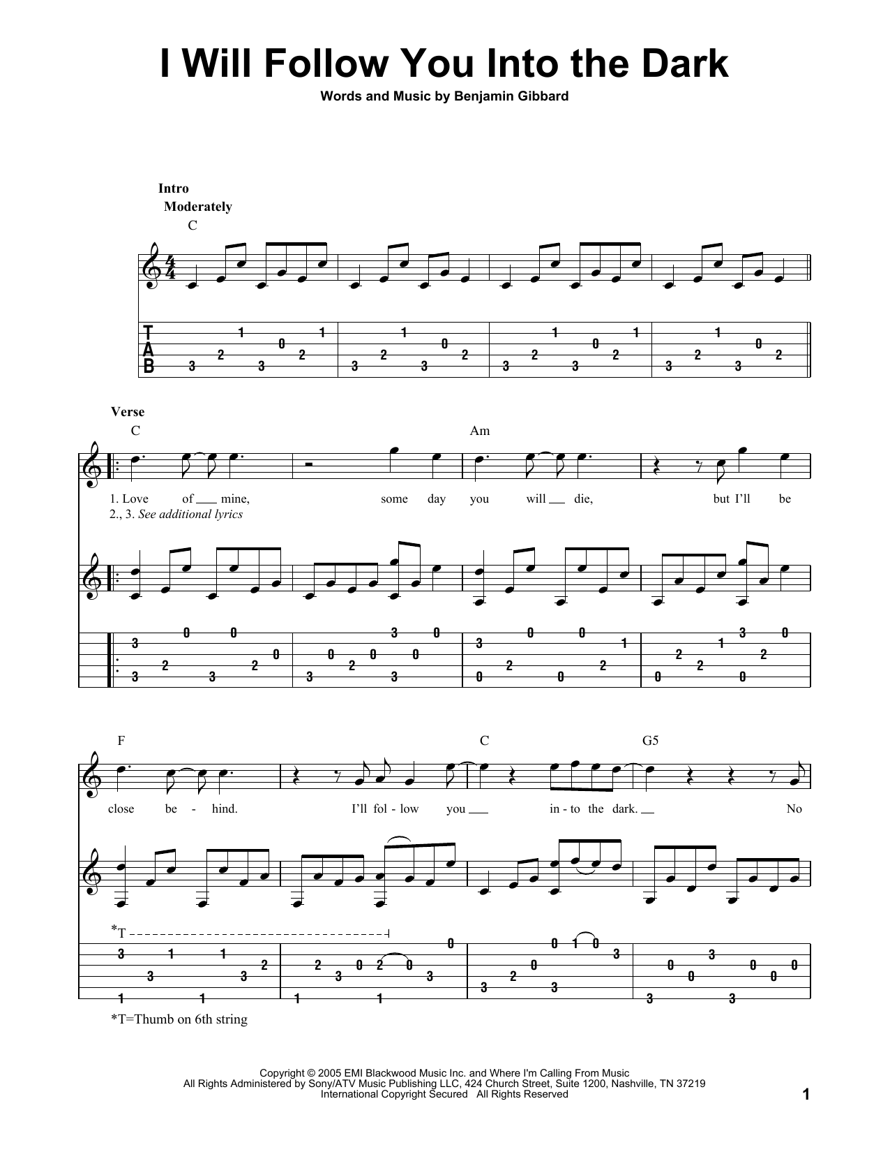 Death Cab For Cutie I Will Follow You Into The Dark Sheet Music