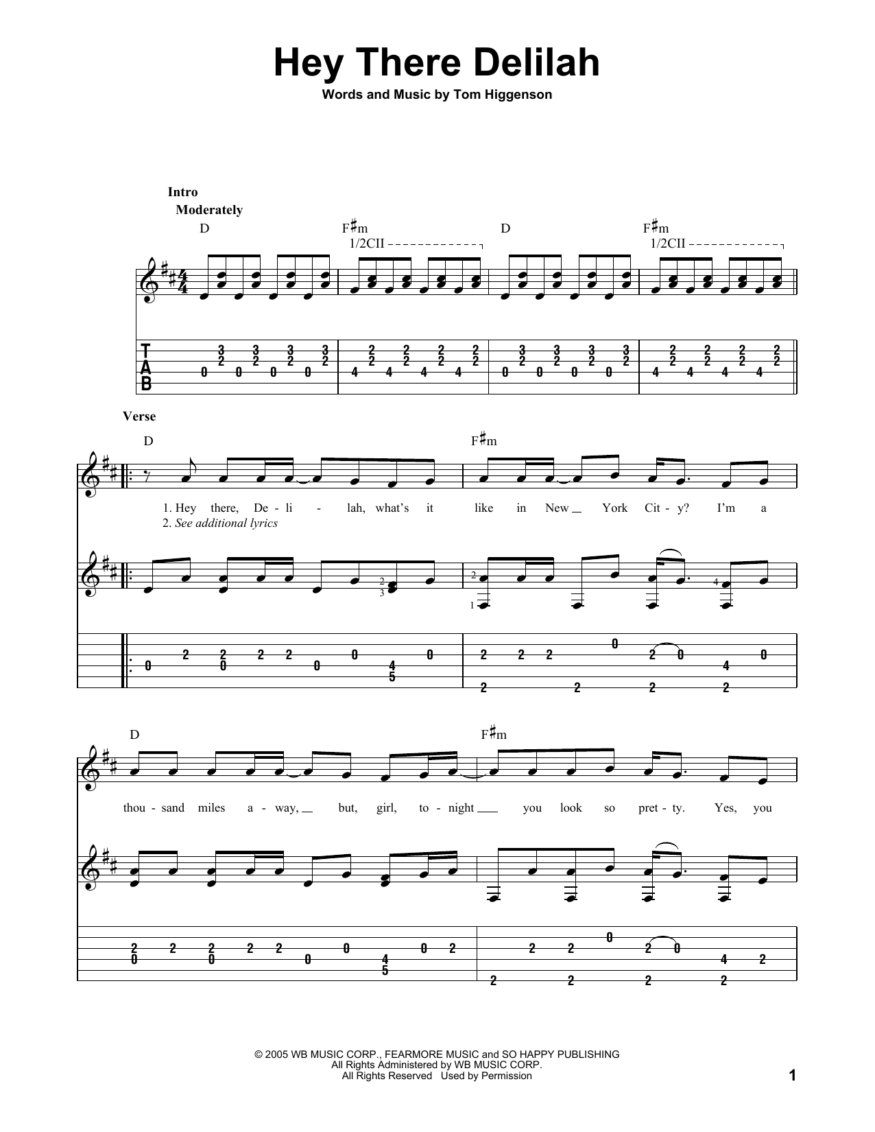Plain White Ts Hey There Delilah Sheet Music Notes Chords