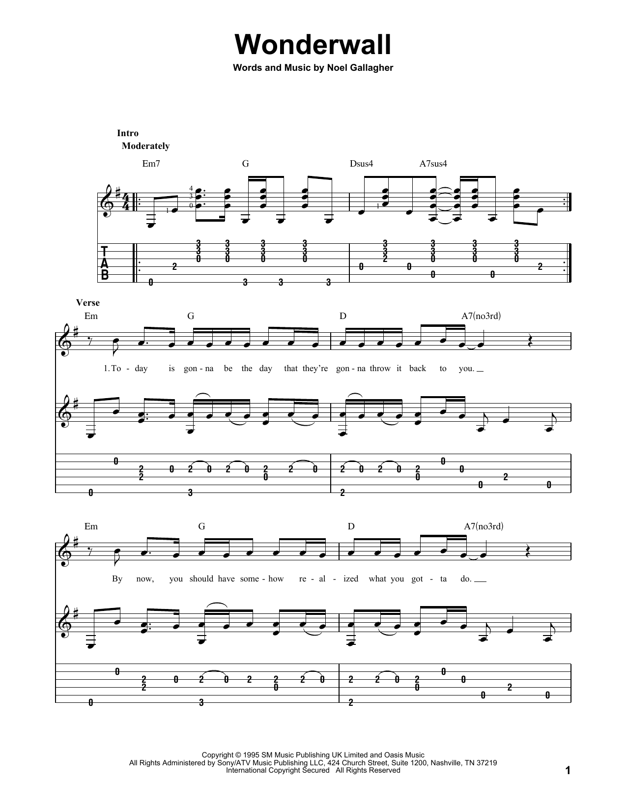 Oasis Wonderwall Sheet Music Notes Chords Printable Rock Guitar