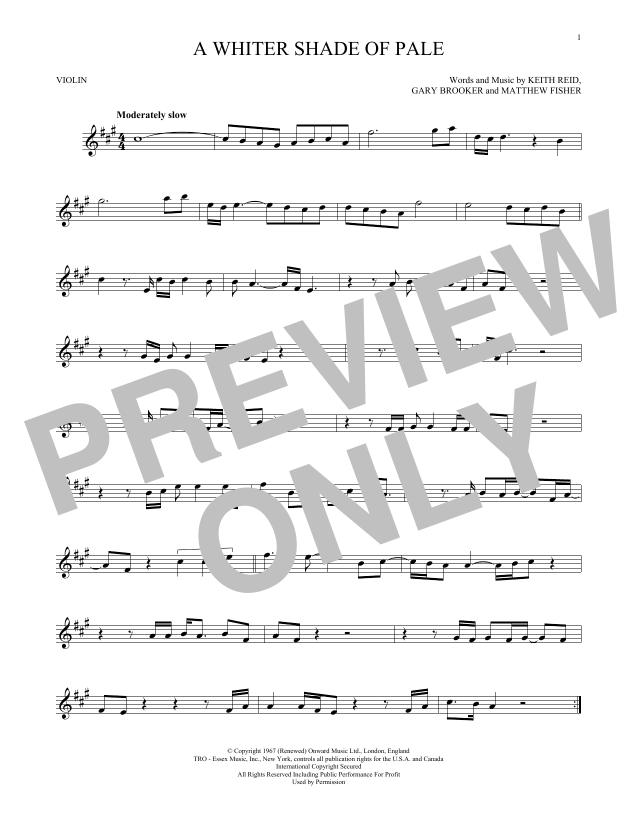Procol Harum A Whiter Shade Of Pale Sheet Music Notes Chords