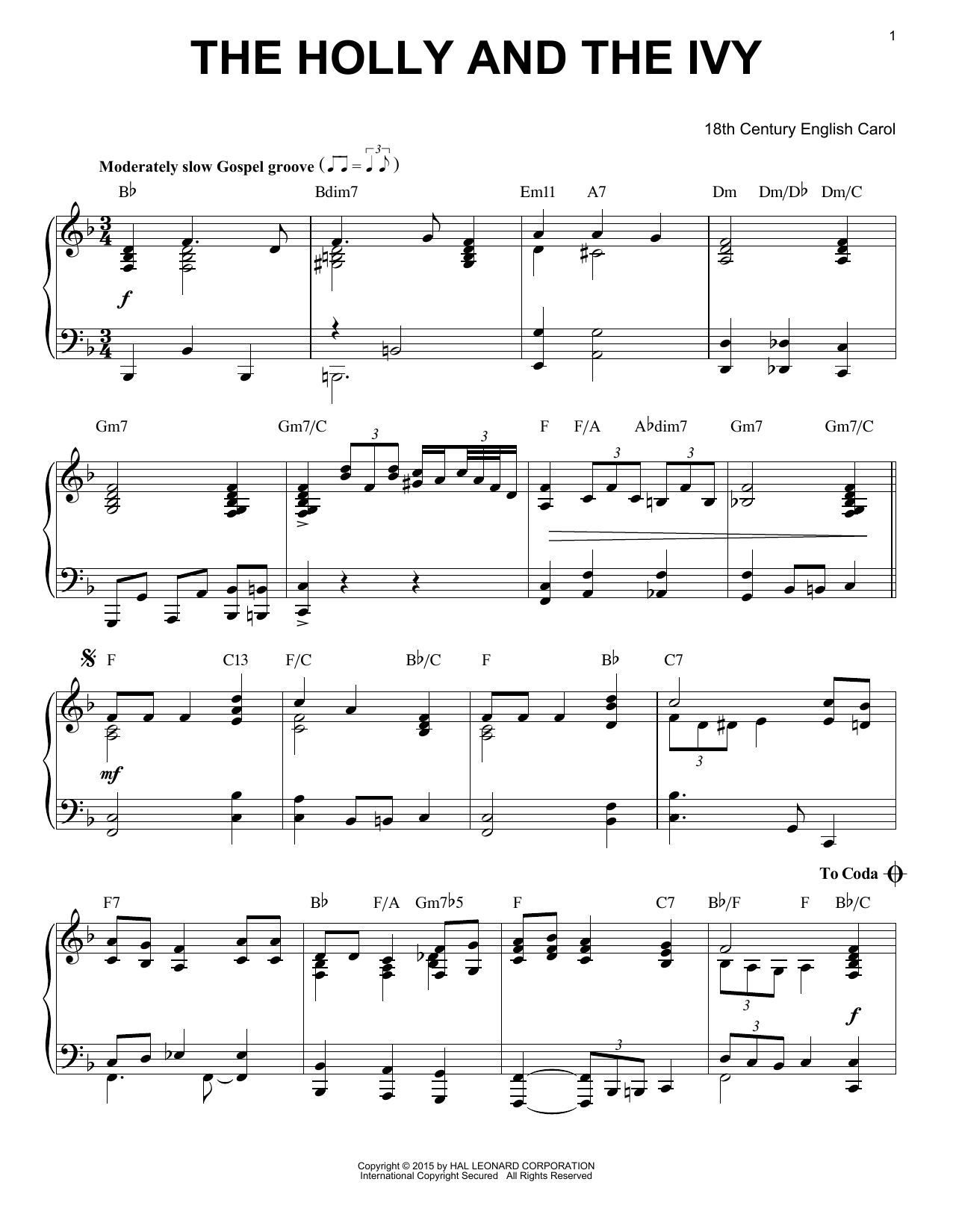 18th Century English Carol The Holly And The Ivy [Jazz version] (arr. Brent Edstrom) sheet music notes and chords. Download Printable PDF.