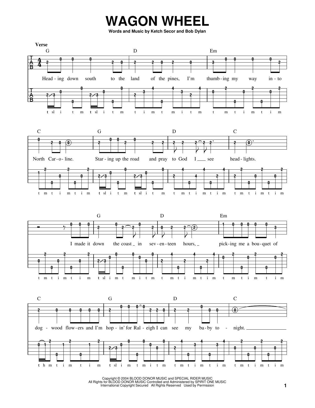 Bob Dylan Wagon Wheel Sheet Music Notes Chords Printable