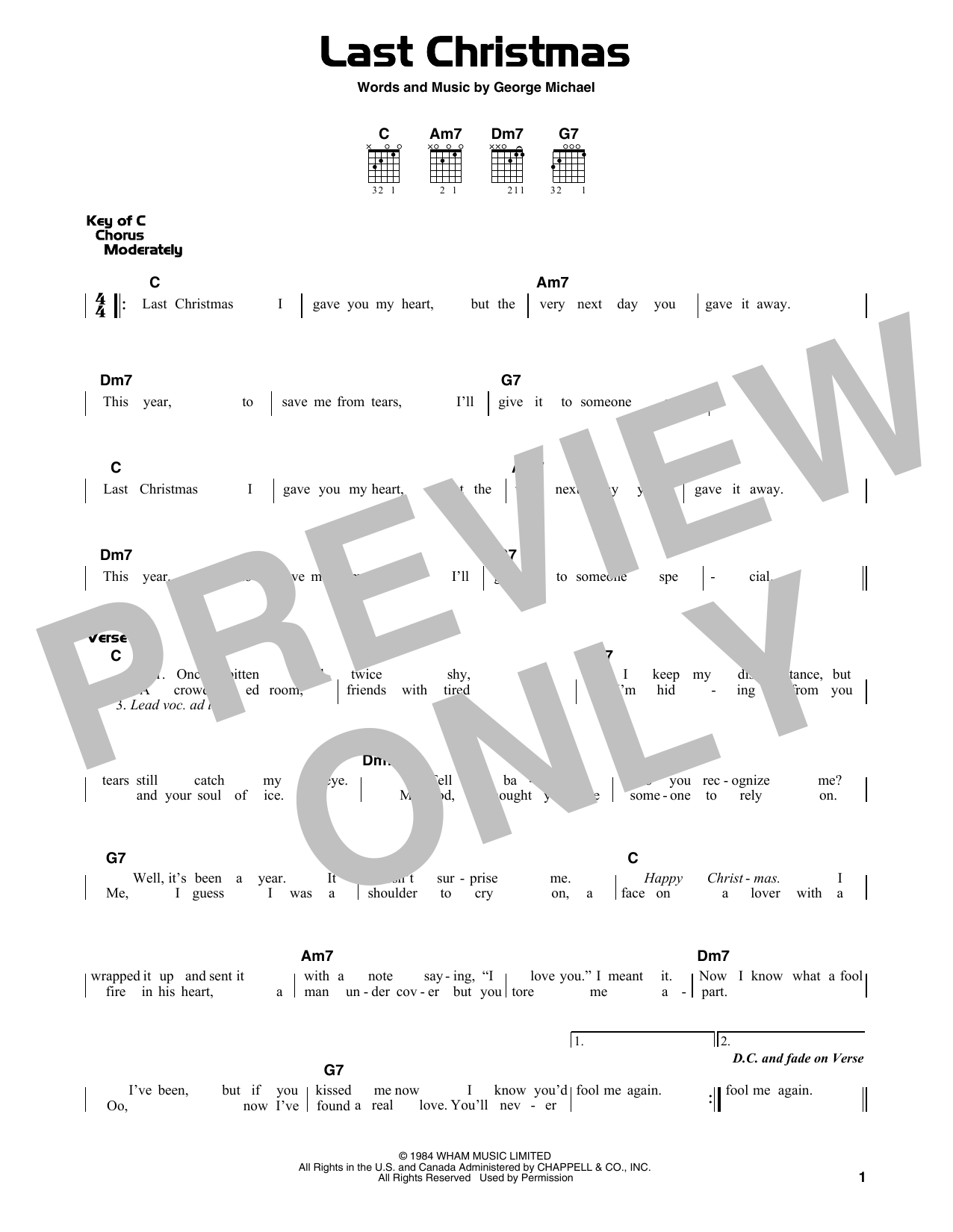 Wham Last Christmas Sheet Music Notes Chords Printable Winter