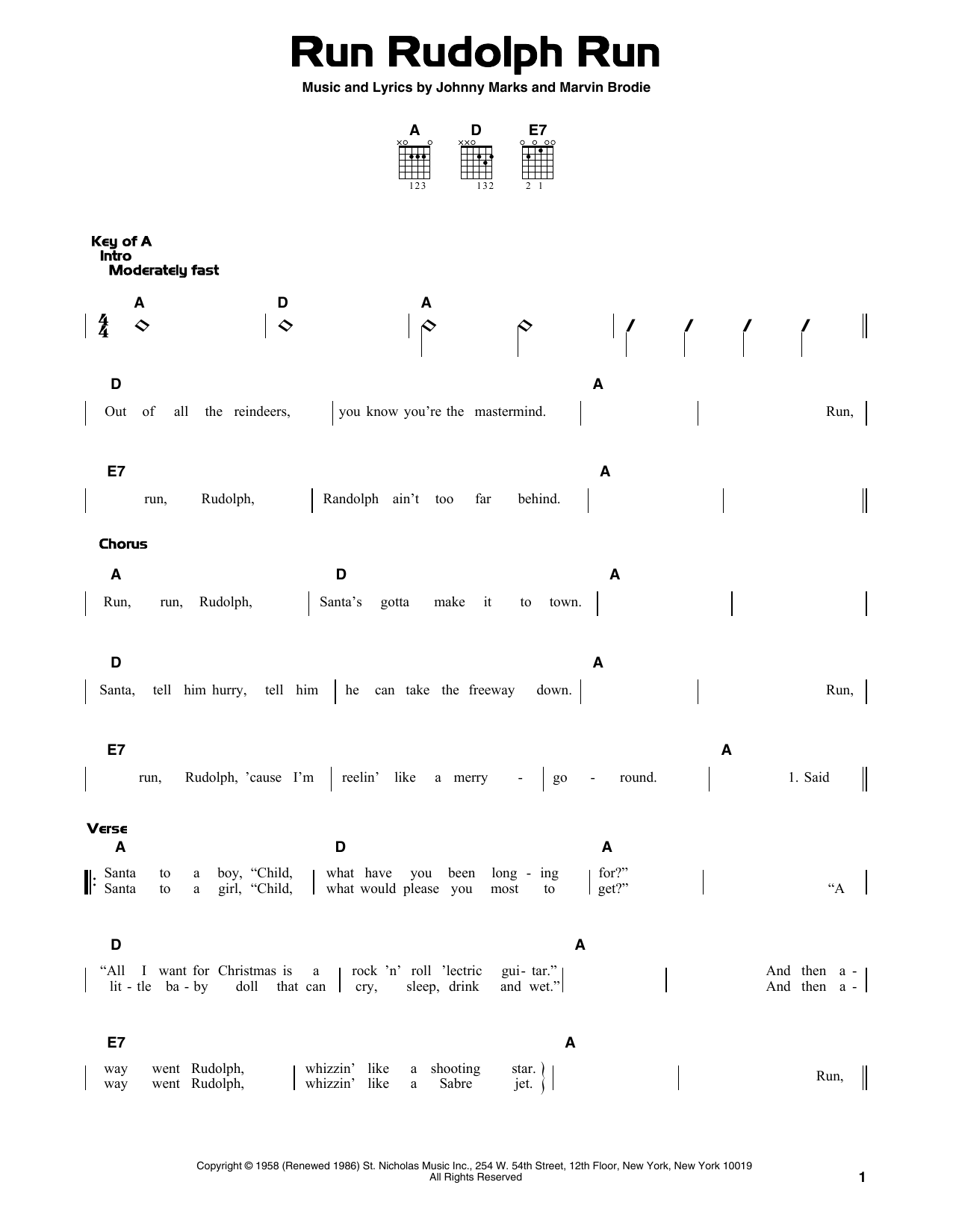 Johnny Marks Run Rudolph Run Sheet Music Notes Chords Printable