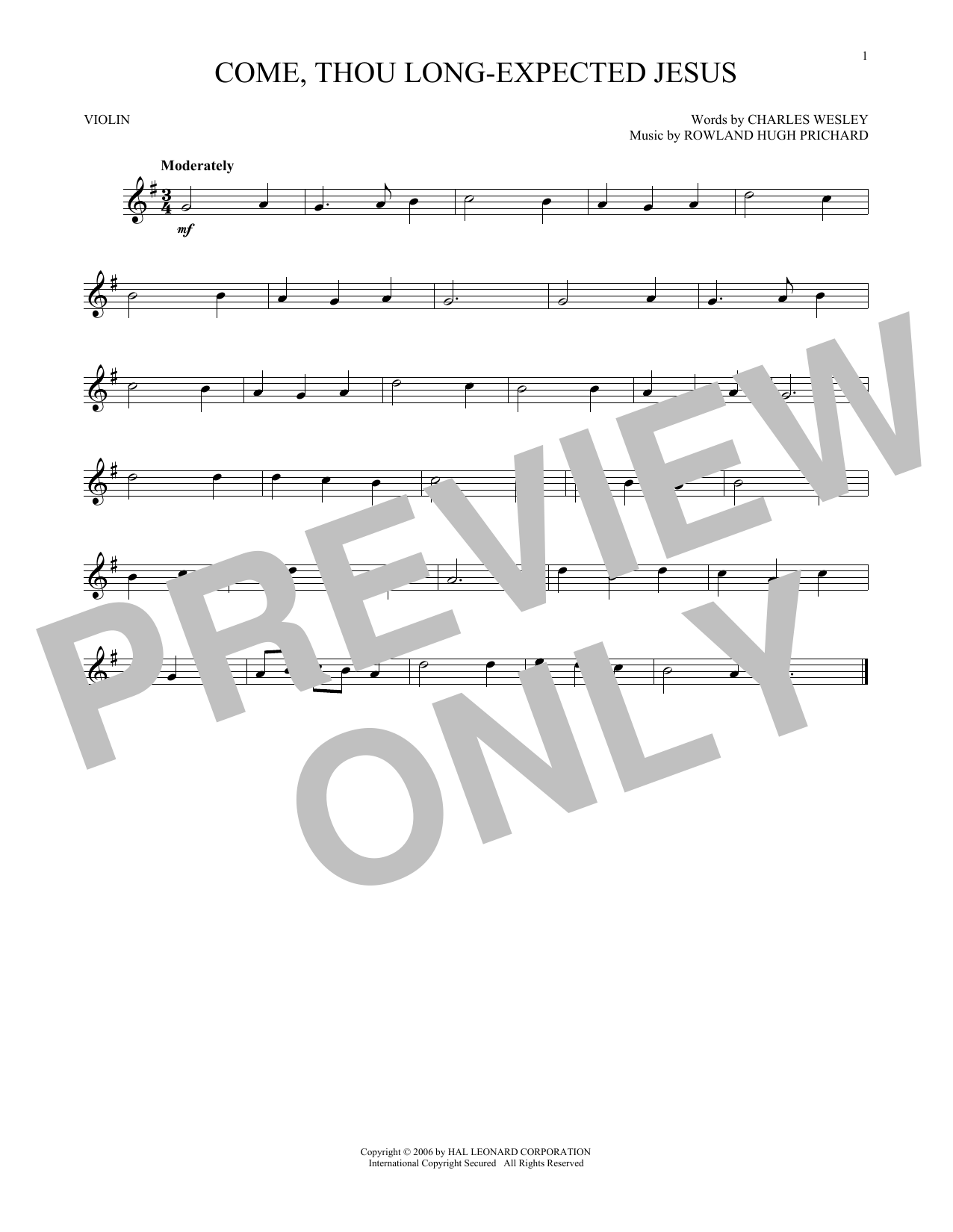 Rowland Hugh Prichard Come Thou Long Expected Jesus Sheet Music