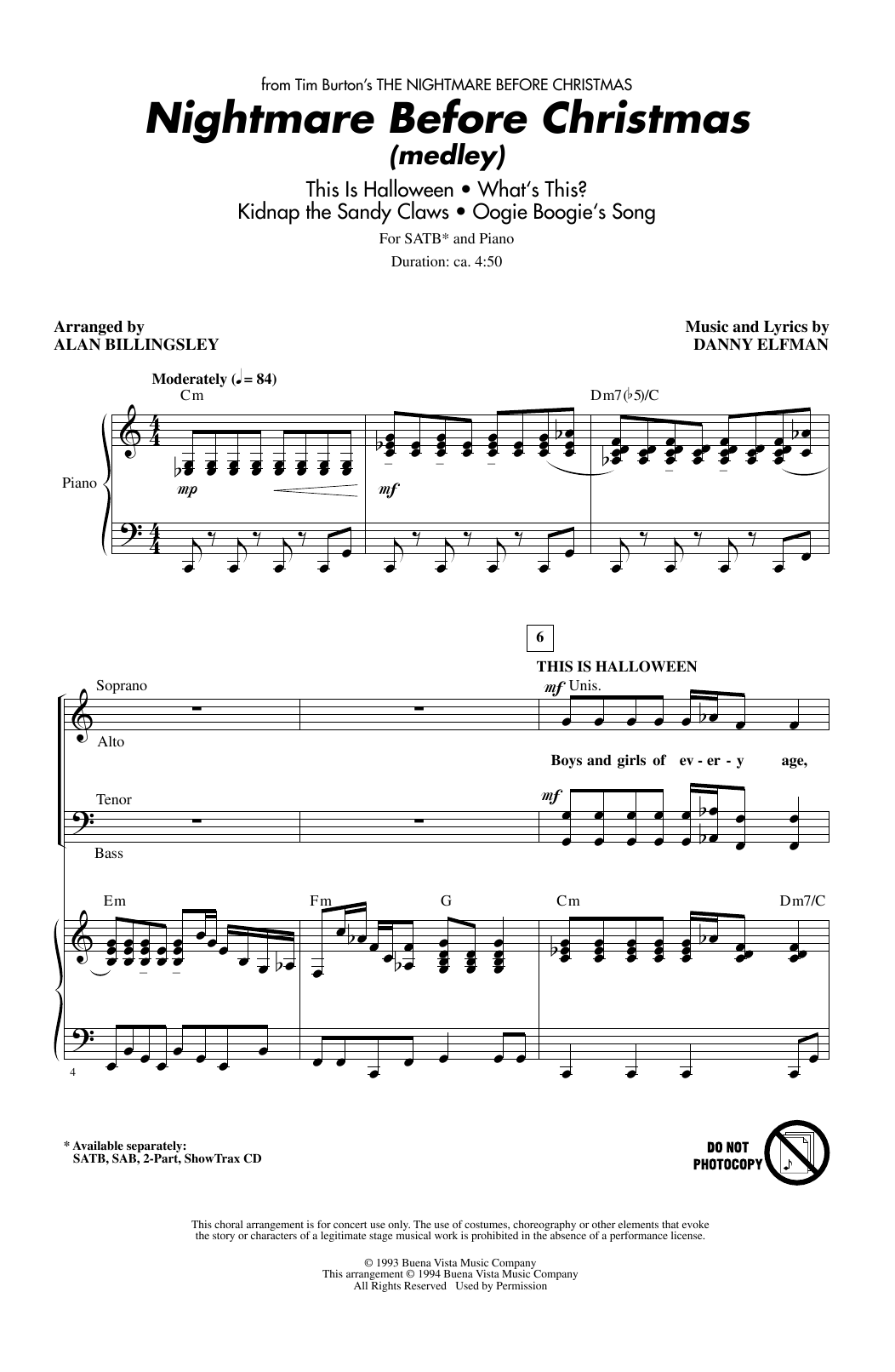 Alan Billingsley Nightmare Before Christmas Medley Sheet Music
