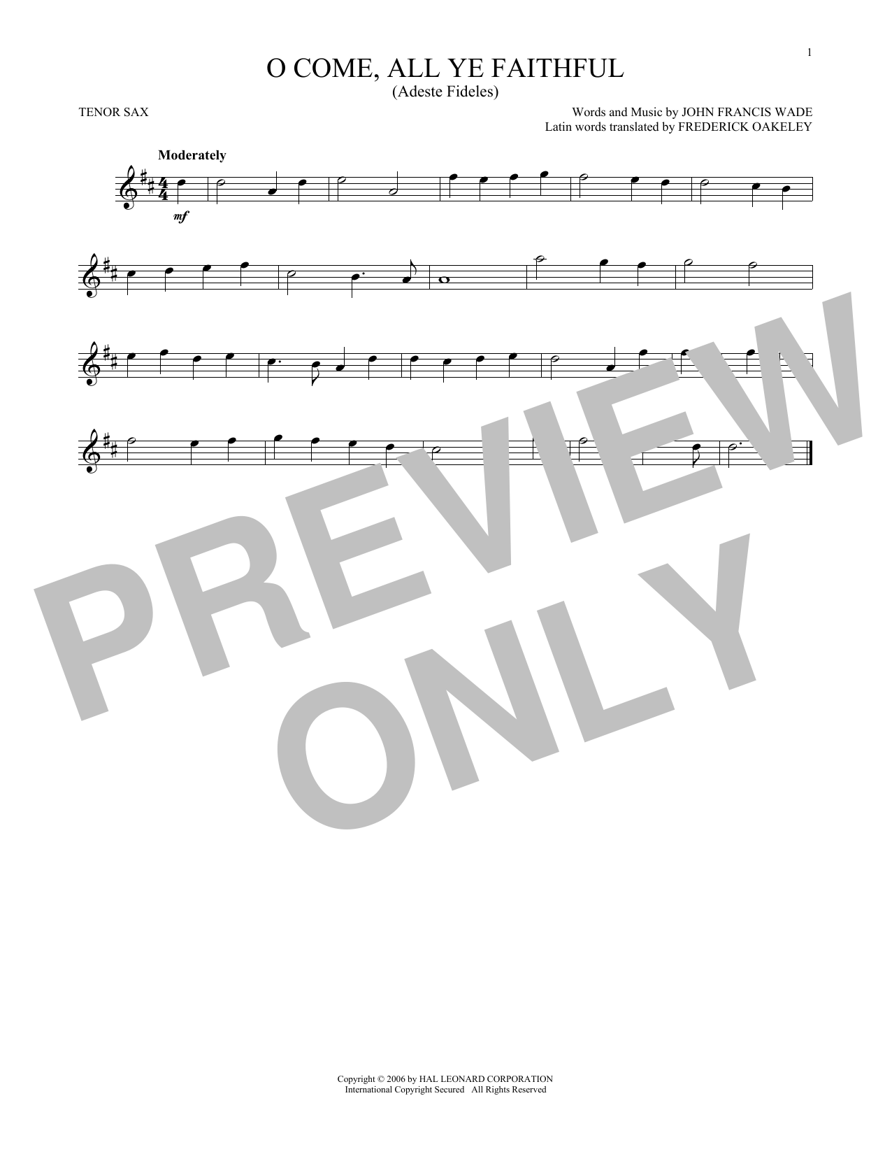 John Francis Wade O Come All Ye Faithful Sheet Music Notes