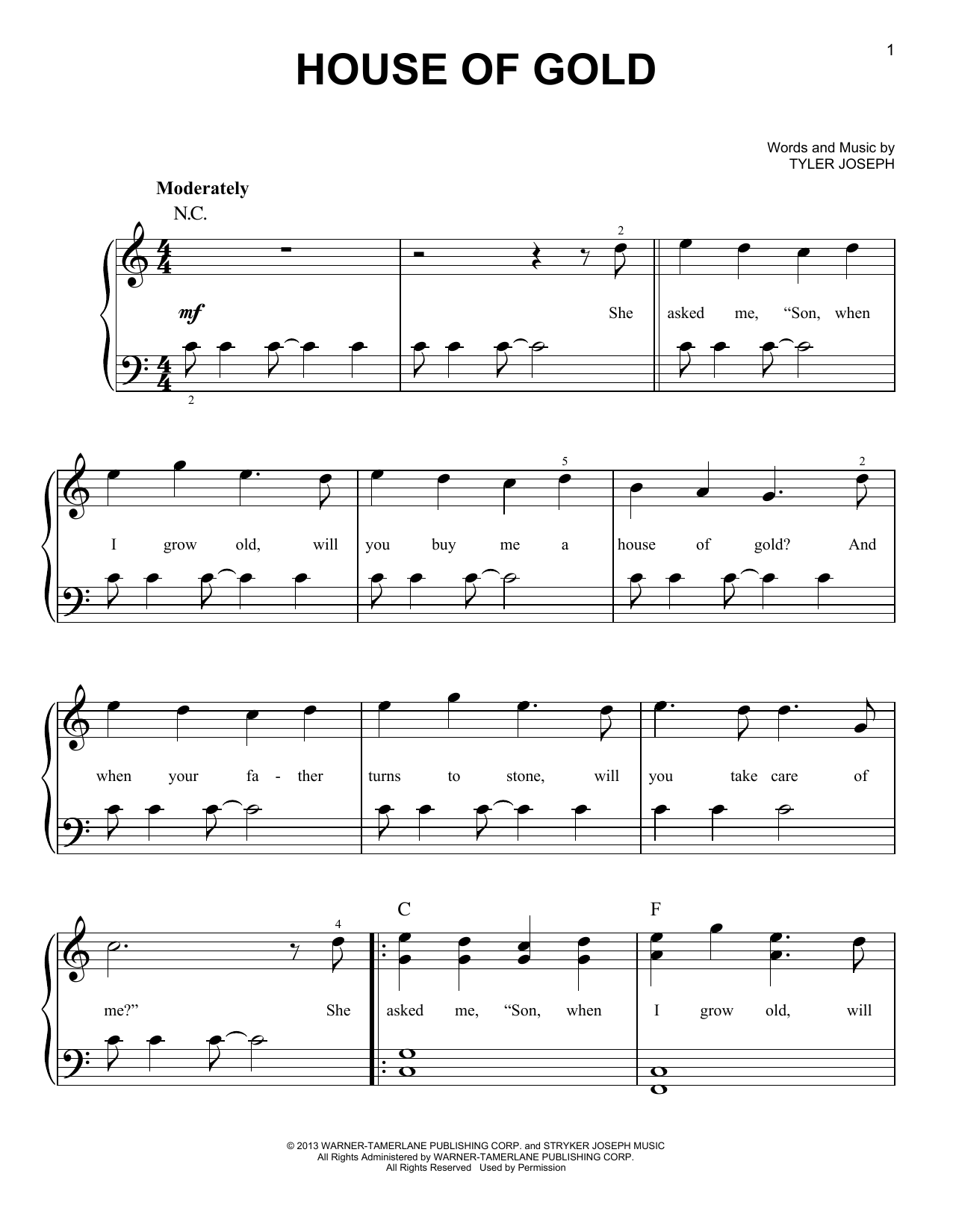 twenty one pilots house of gold sheet music notes chords printable pop easy piano download. Black Bedroom Furniture Sets. Home Design Ideas