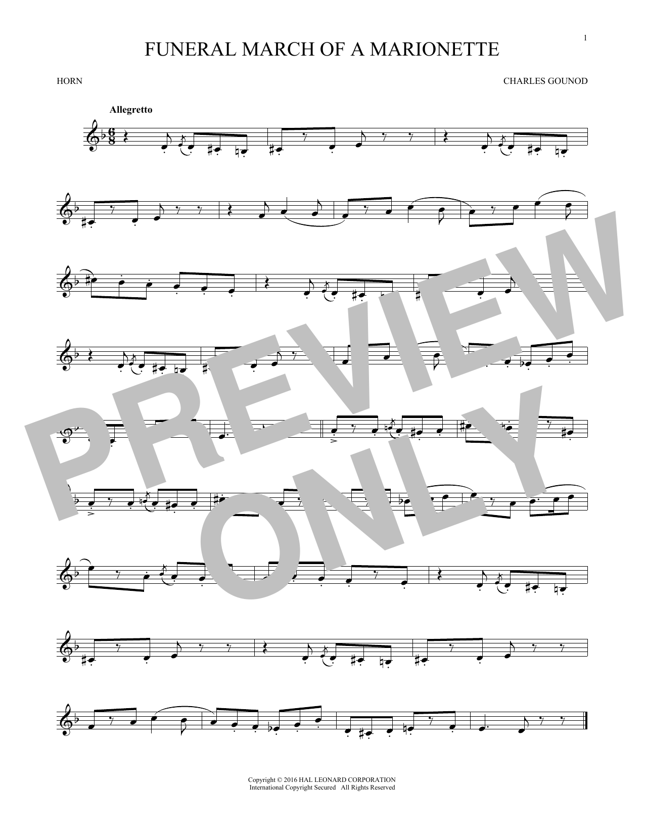 Charles Gounod Funeral March Of A Marionette Sheet Music Notes