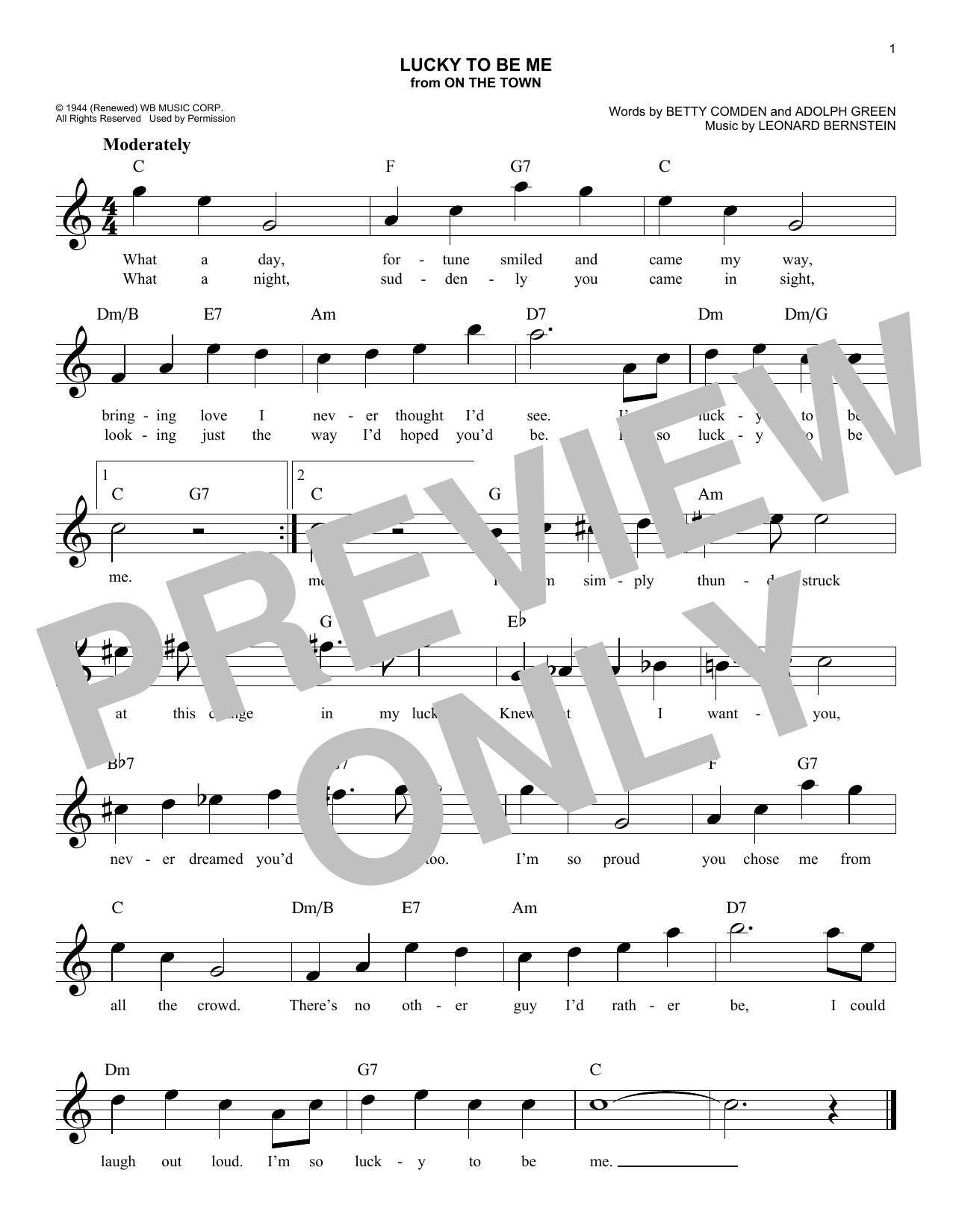 Leonard Bernstein Lucky To Be Me Sheet Music Notes Chords