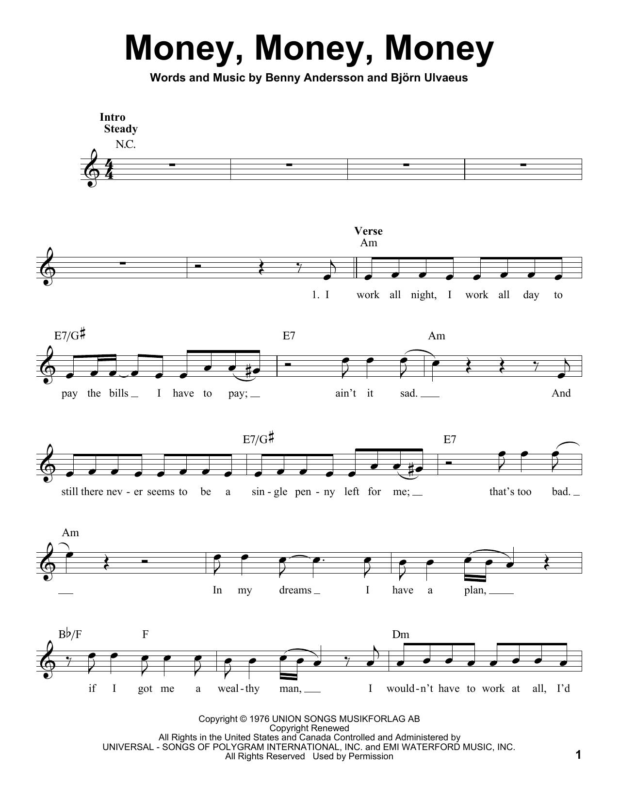 Abba Money Money Money Sheet Music Notes Chords Printable