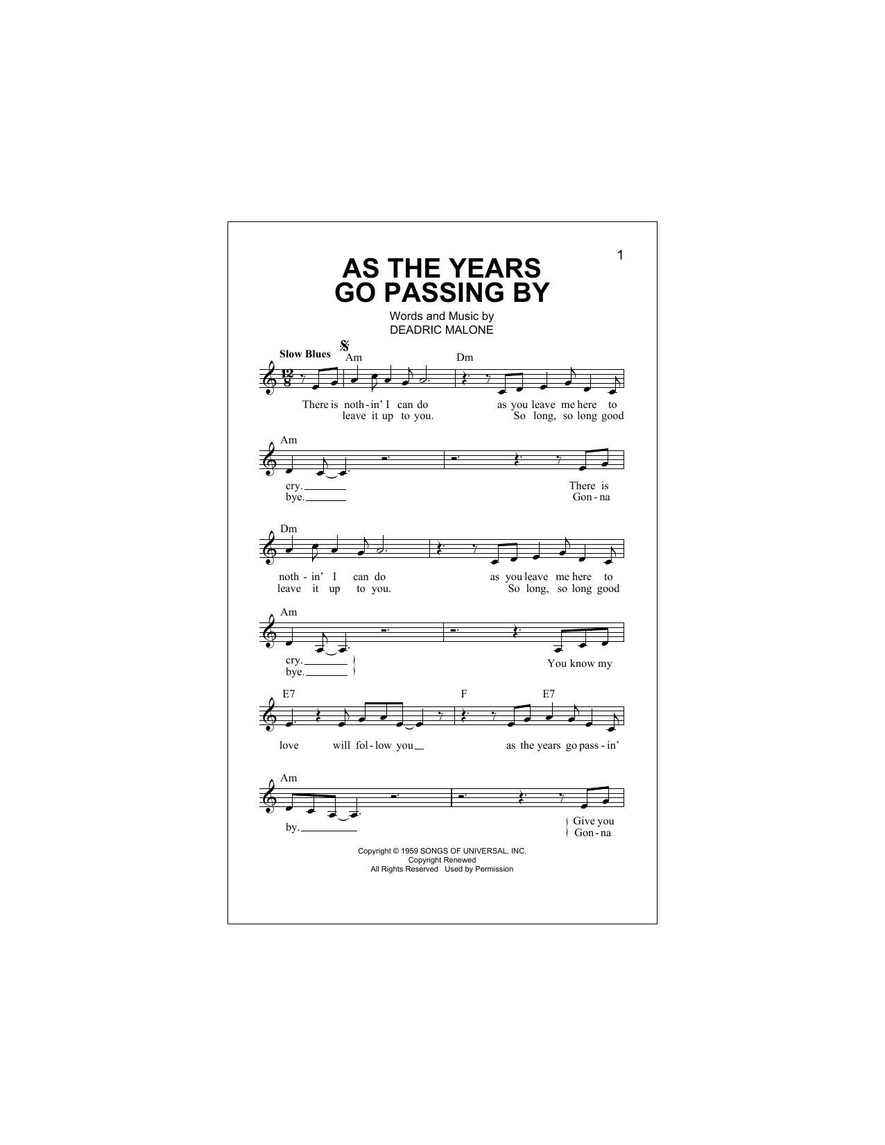 Deadric Malone As The Years Go Passing By Sheet Music Notes