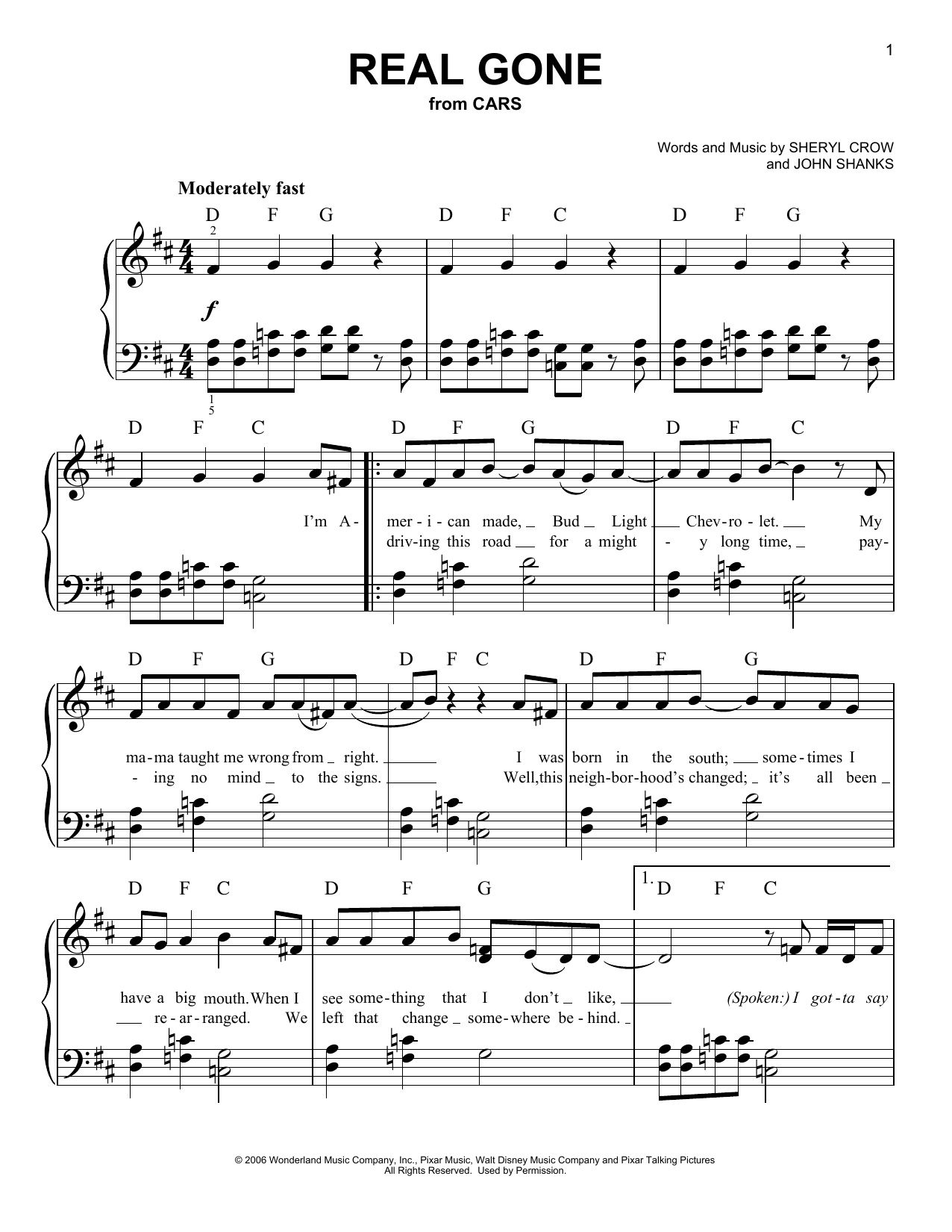 Sheryl Crow Real Gone Sheet Music Notes Chords Printable
