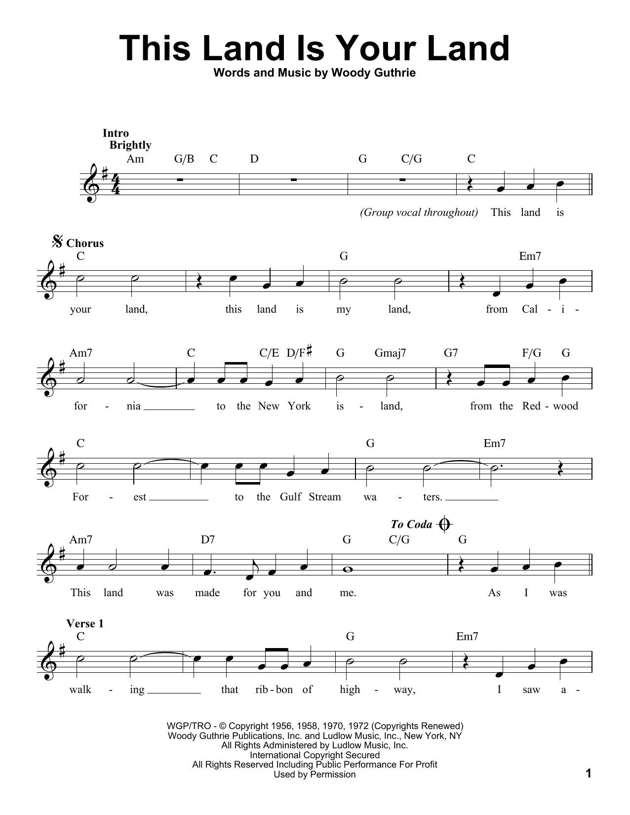 Woody Guthrie This Land Is Your Land Sheet Music Notes Chords