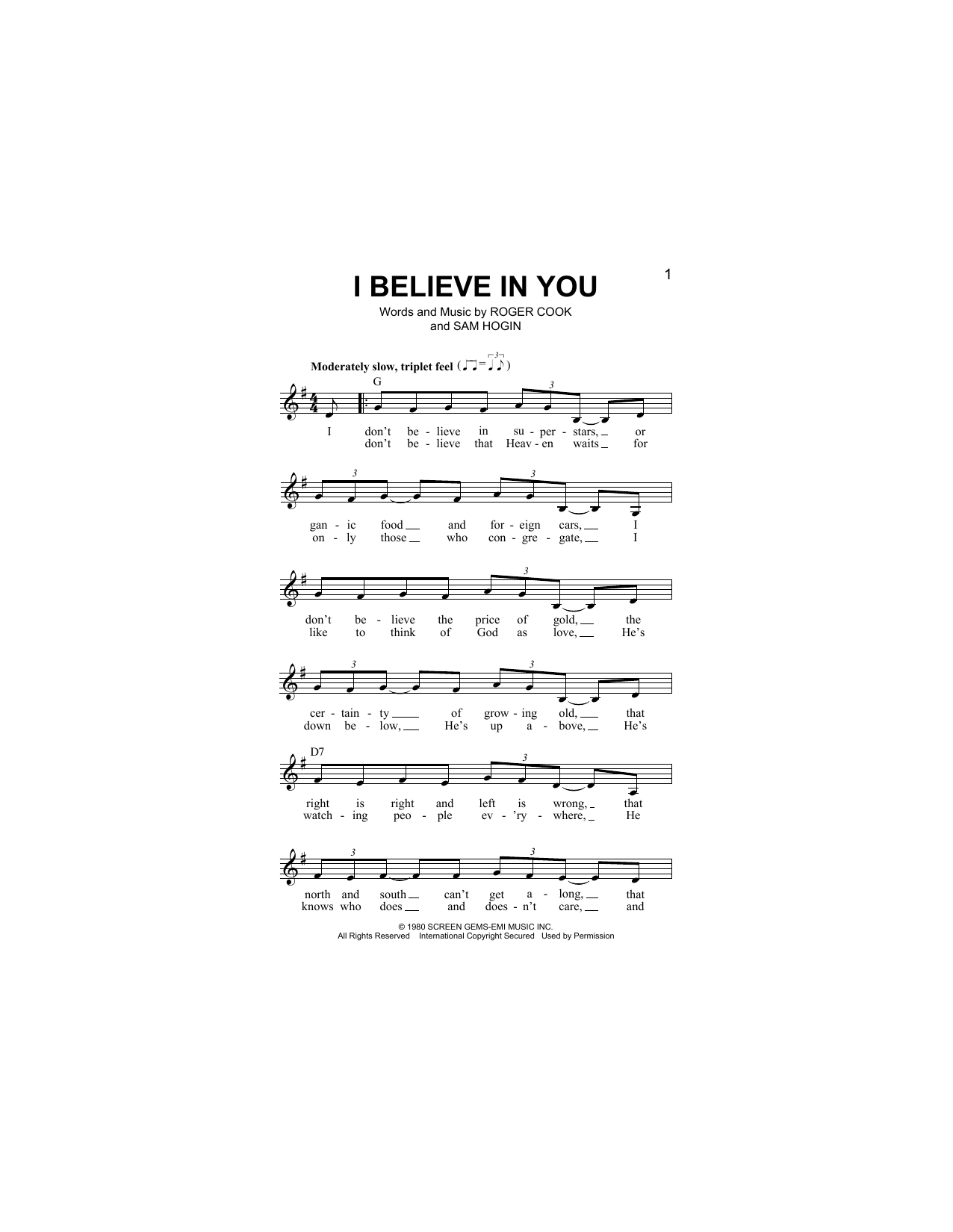 Don Williams I Believe In You Sheet Music Notes Chords