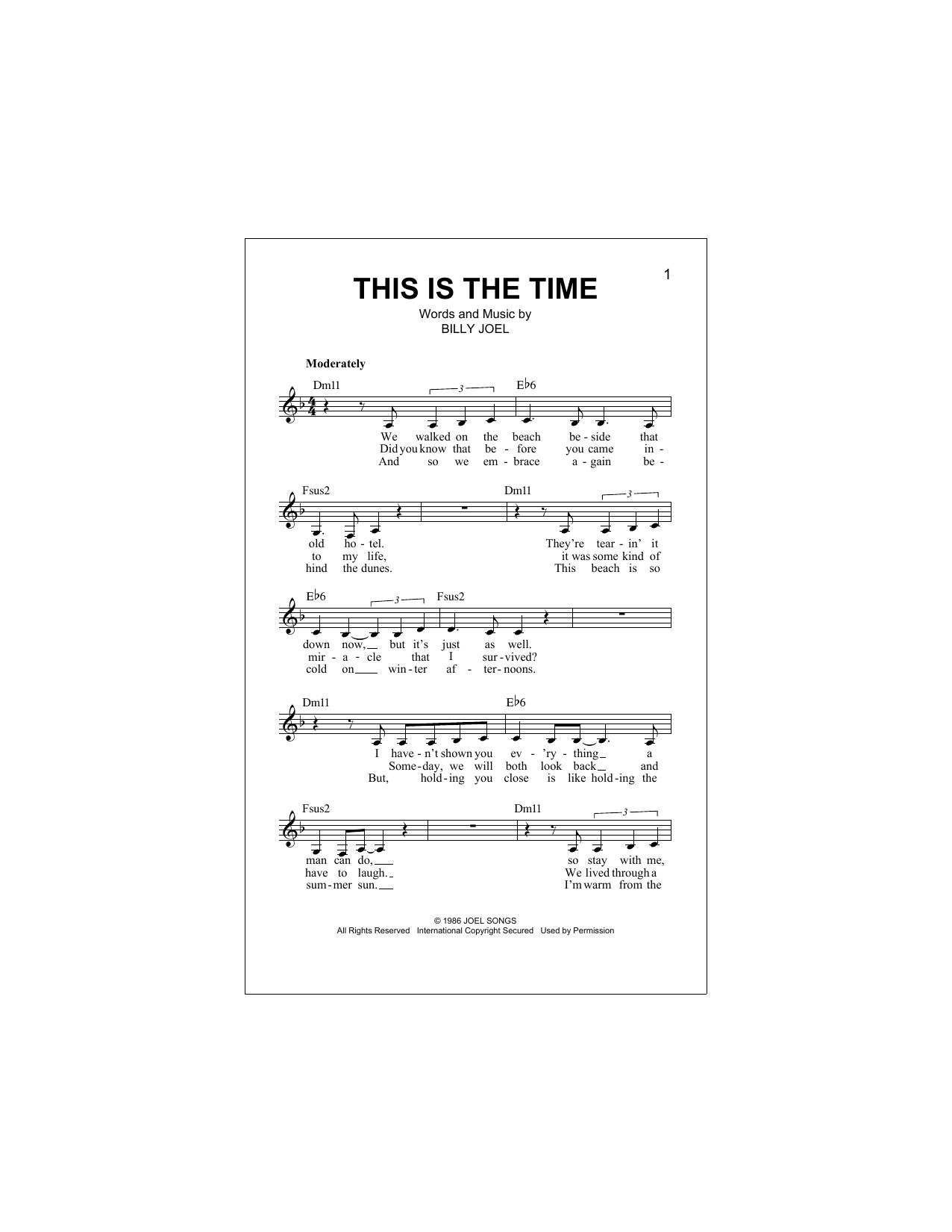 Billy Joel This Is The Time Sheet Music Notes Chords Printable