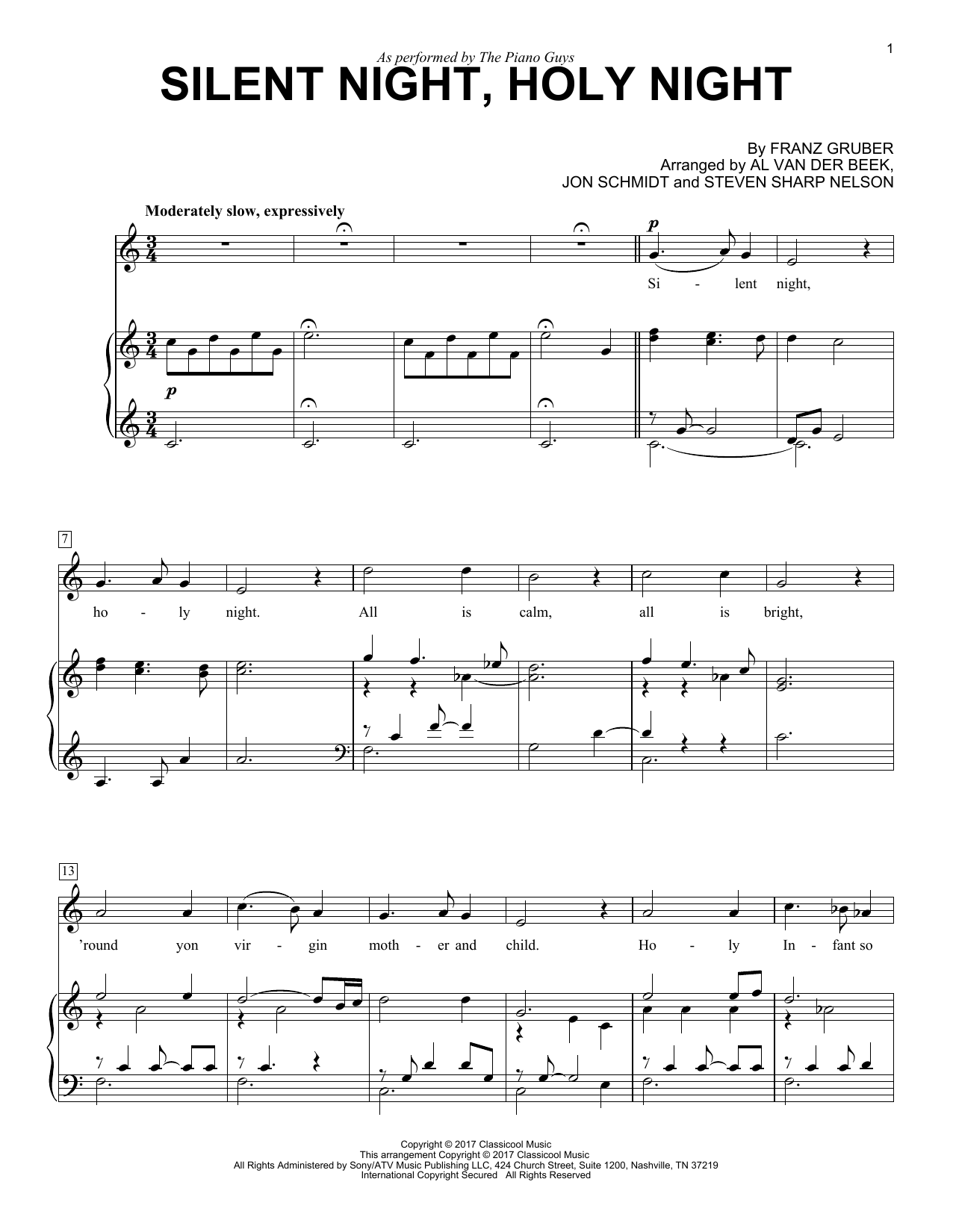The Piano Guys Silent Night Holy Night Sheet Music Notes Chords