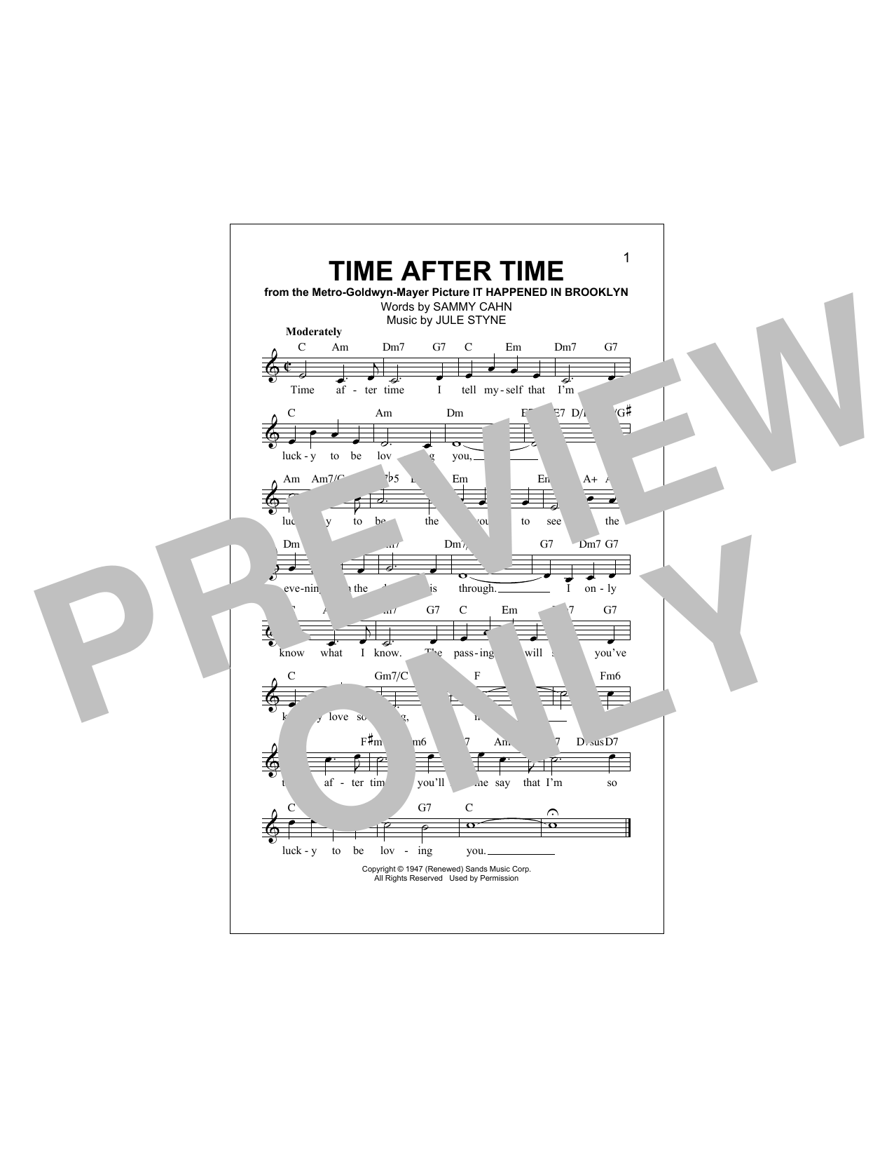 Sammy Cahn Time After Time Sheet Music Notes Chords Printable