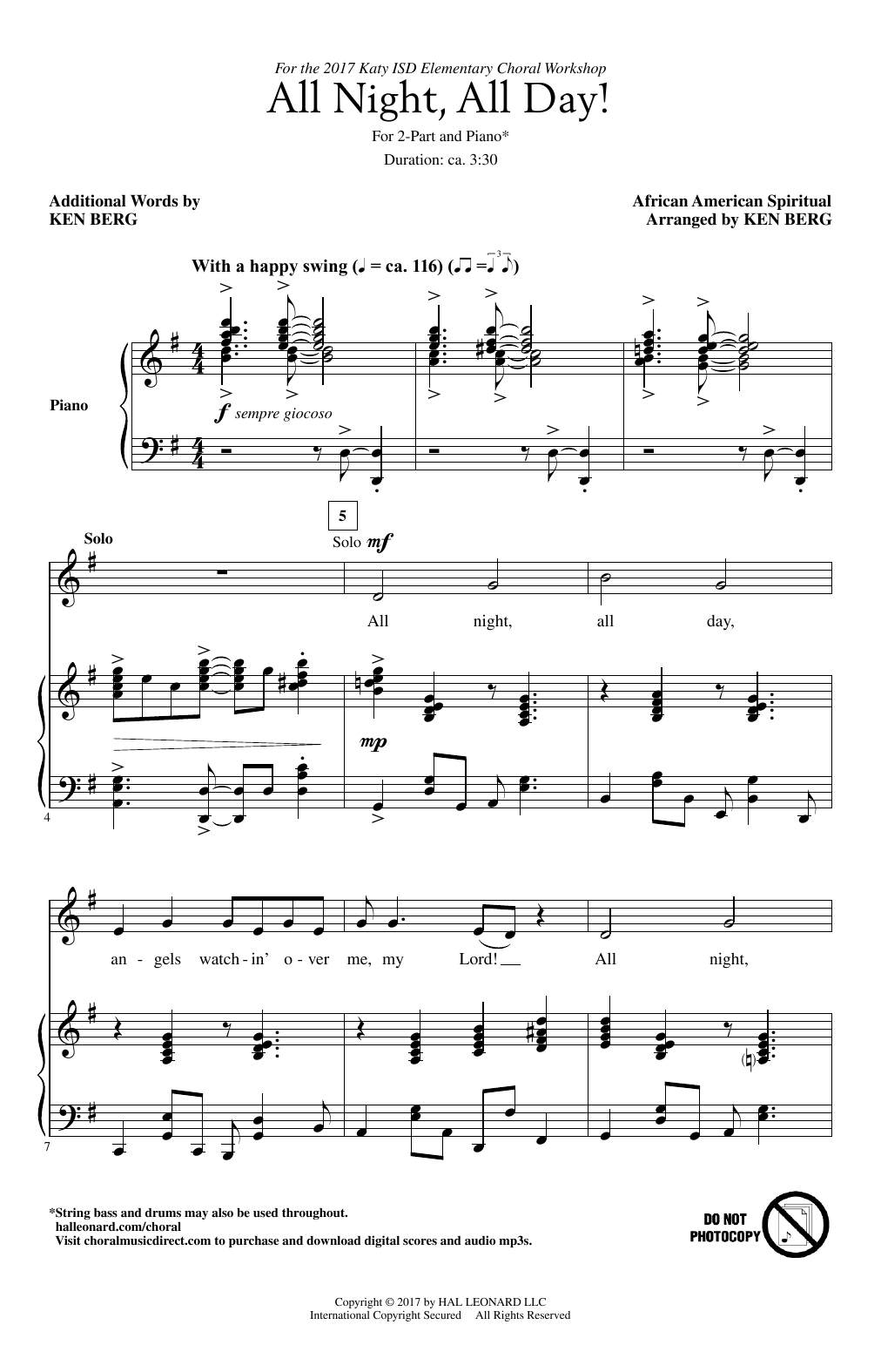 Ken Berg All Night All Day Sheet Music Notes Chords Printable