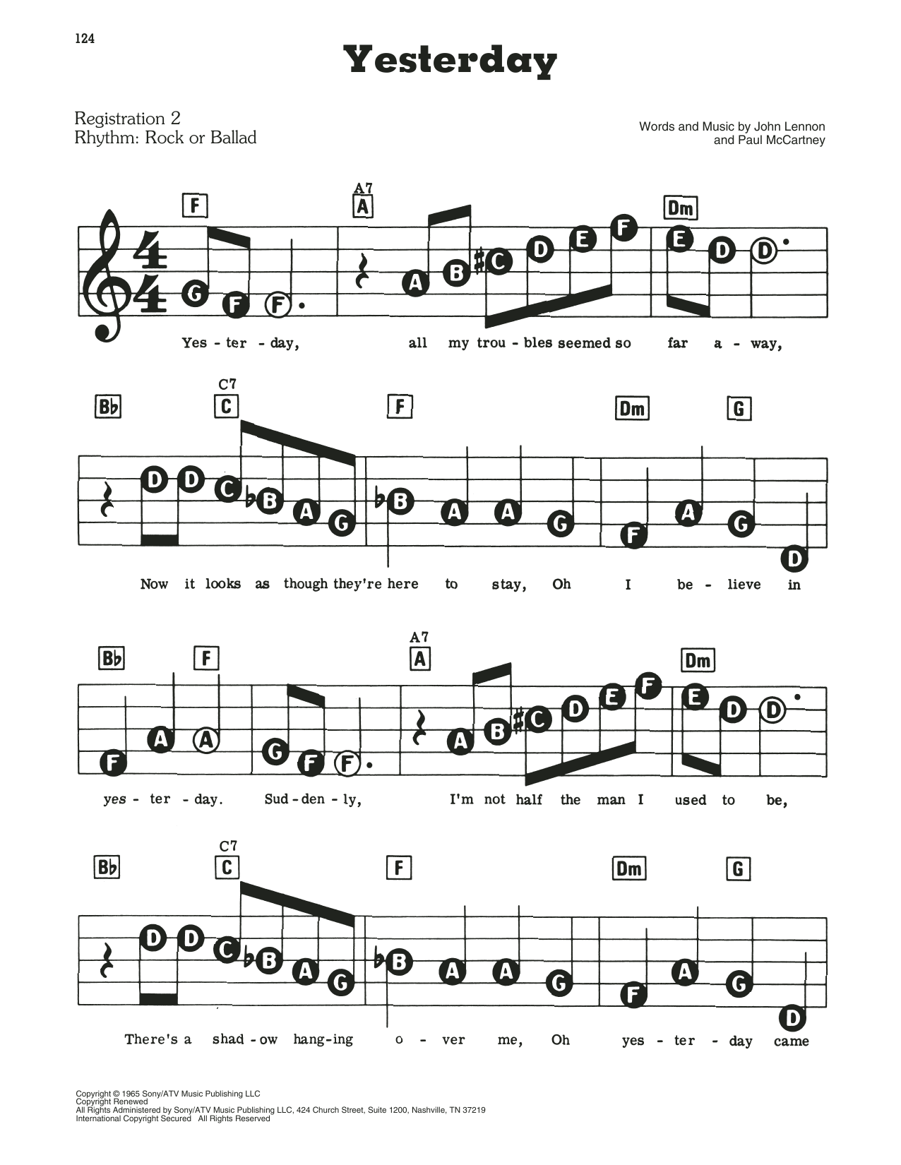 The Beatles Yesterday Sheet Music Notes Chords Printable Pop